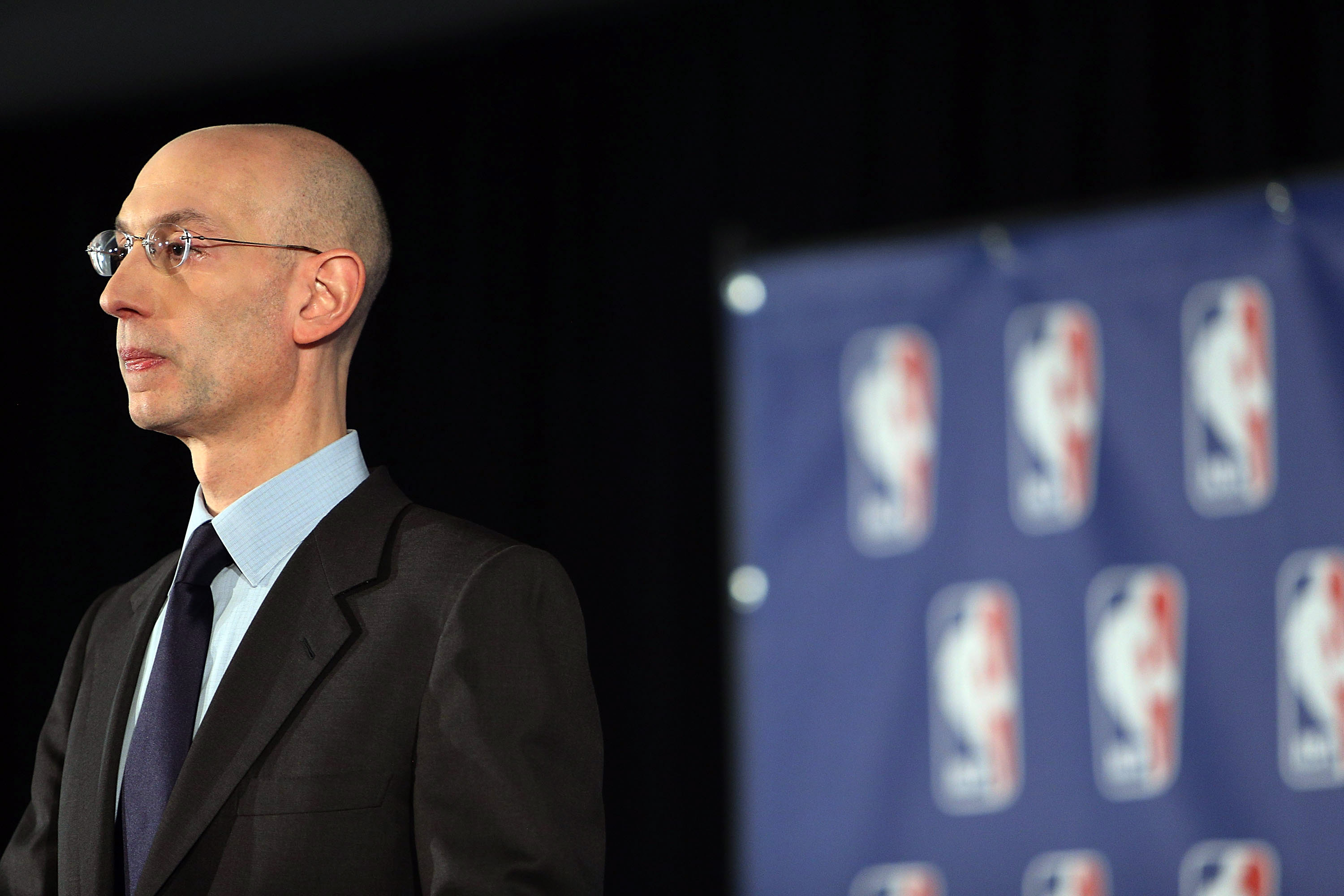 NBA commissioner Adam Silver addresses the media about the investigation involving Los Angeles Clippers owner Donald Sterling in New York City on April 29, 2014