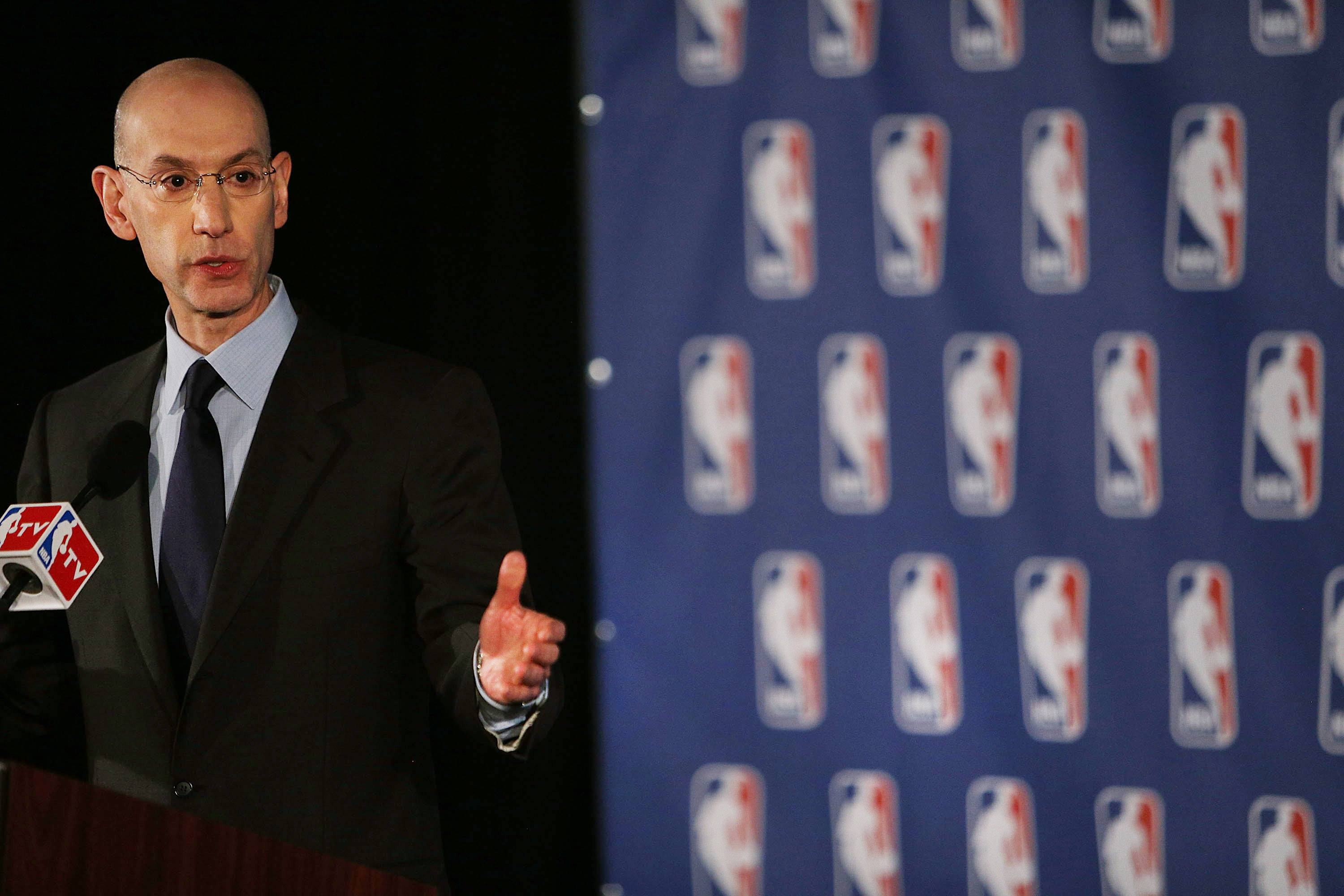 NBA Commissioner Adam Silver addresses the media about the investigation involving Los Angeles Clippers owner Donald Sterling and accusations that he made racist remarks to a girlfriend on April 29, 2014 in New York City.