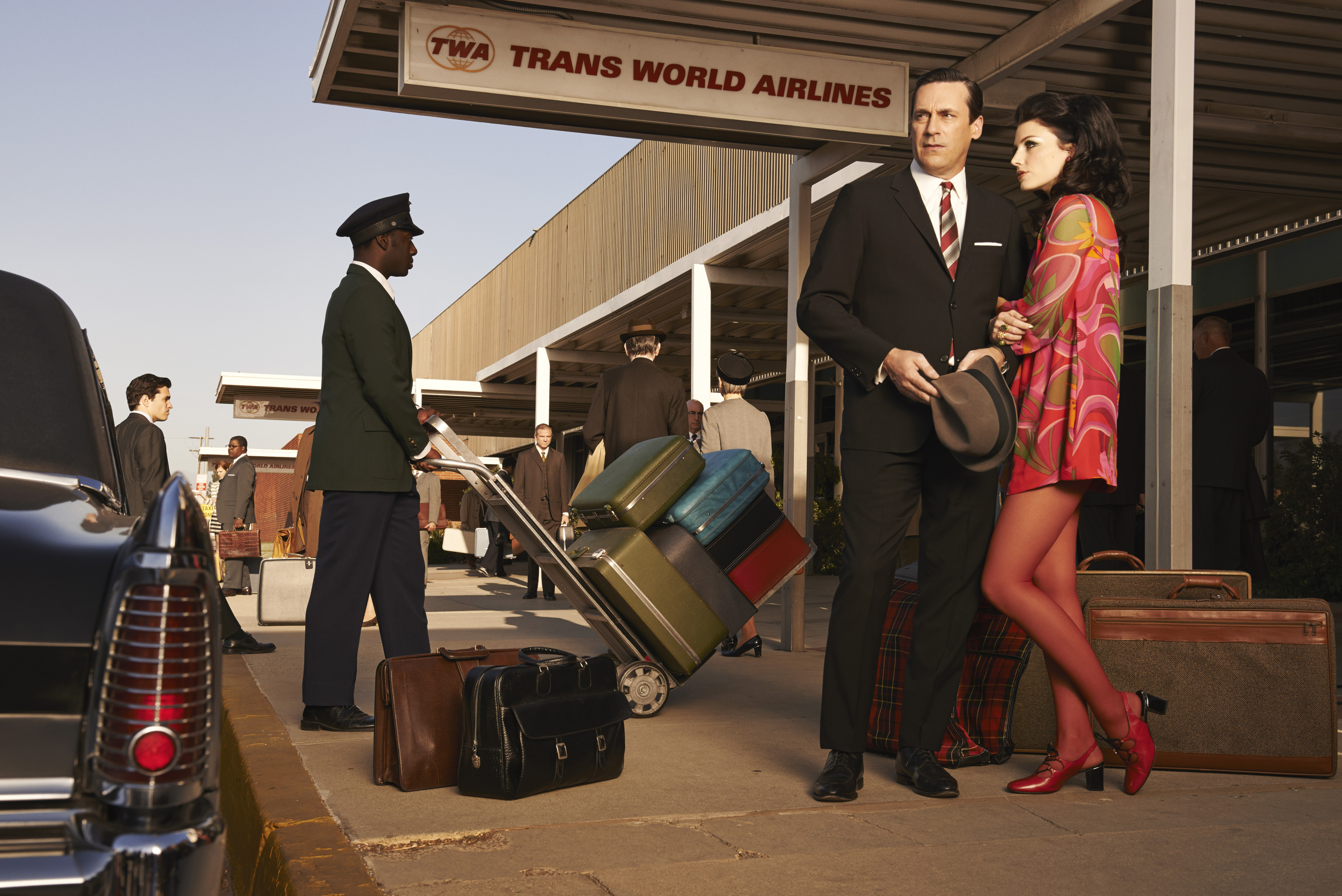 Don Draper (Jon Hamm) and Megan Draper (Jessica Pare), from Season 7 of AMC's Mad Men.