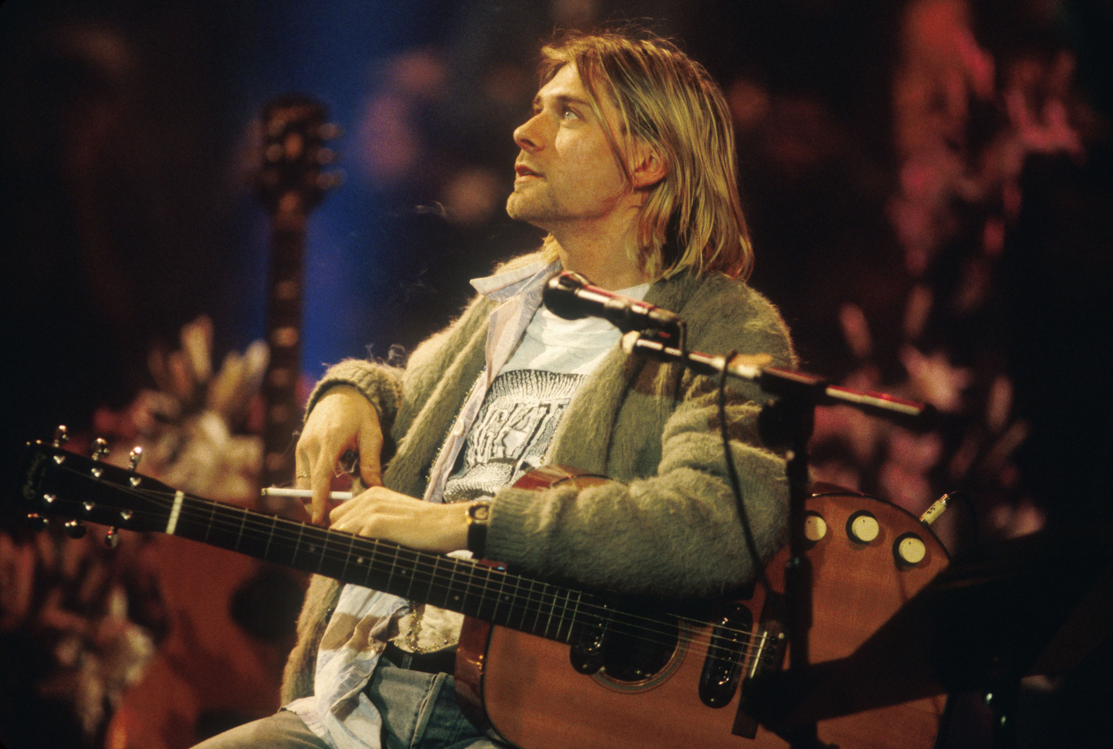 Kurt Cobain of Nirvana during the taping of MTV Unplugged at Sony Studios in New York City, 11/18/93.