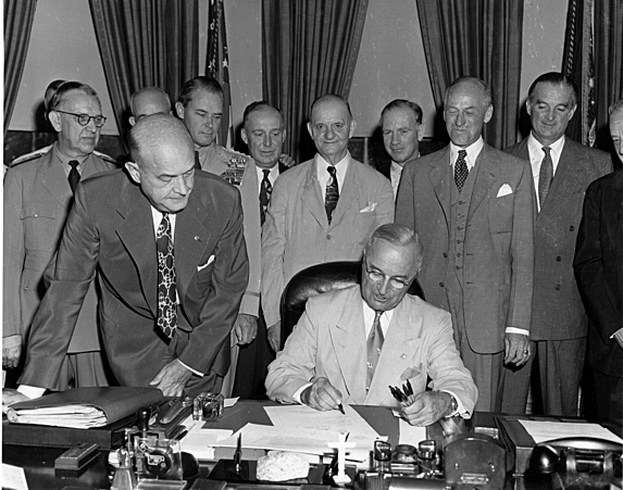 With a stroke of his pen, President Harry Truman finished changing the name of the Department of War to the Department of Defense in 1949.