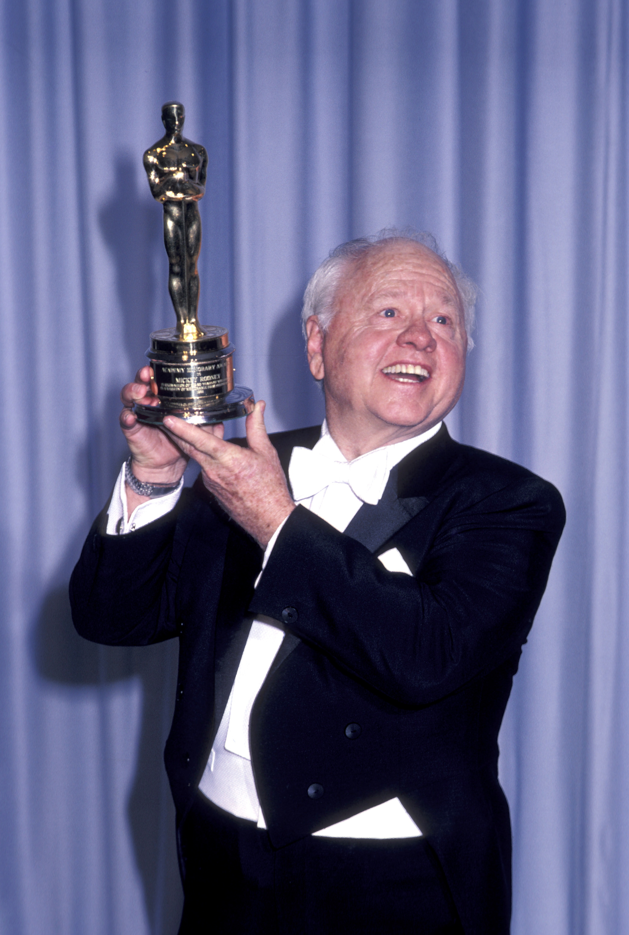 """Mickey Rooney received an Honorary Oscar in 1983 """"in recognition of his 50 years of versatility in a variety of memorable film performances."""""""