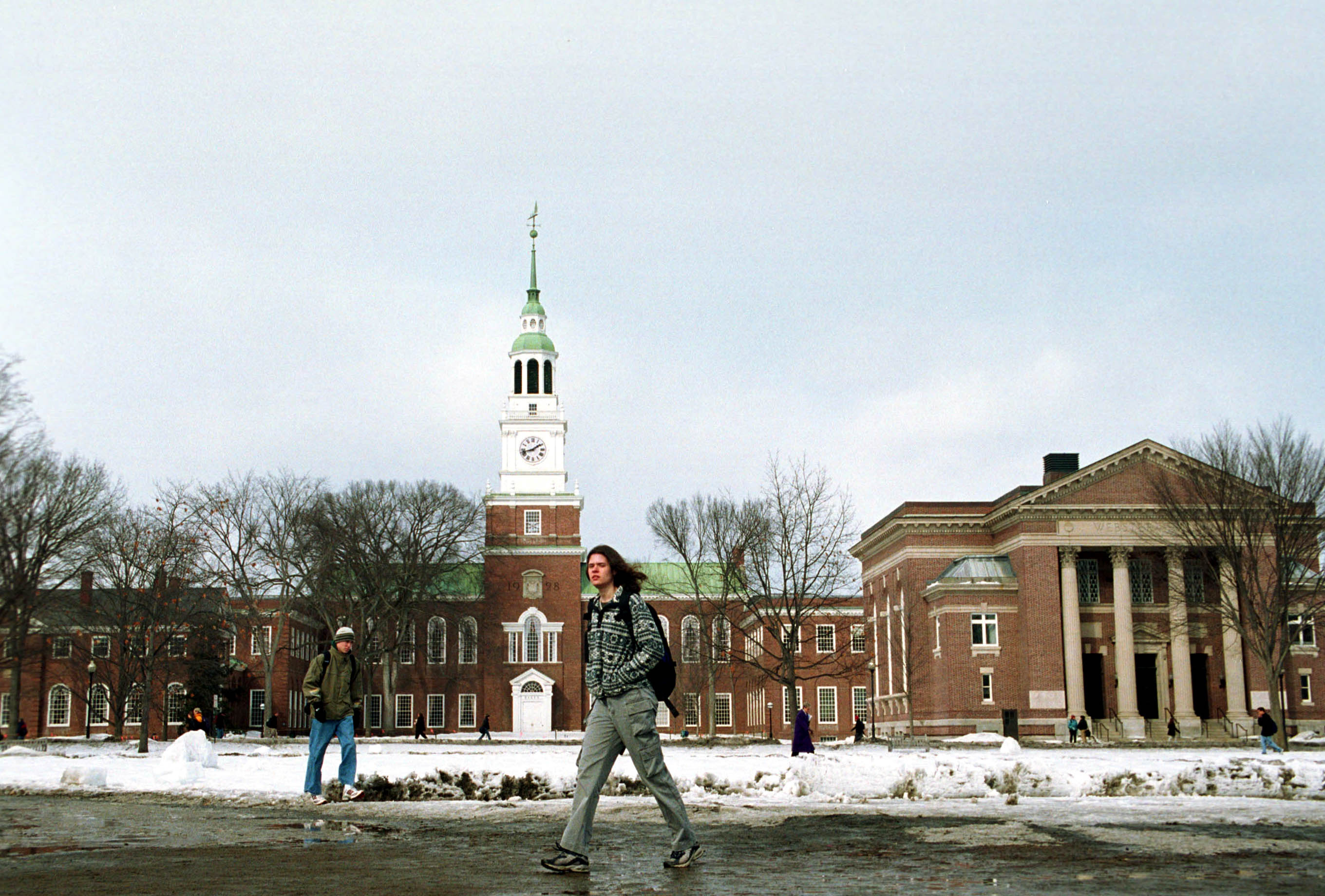 Dartmouth College student walks across the main campus February 28, 2001 in Hanover, NH. (Photo by Darren McCollester/Newsmakers)