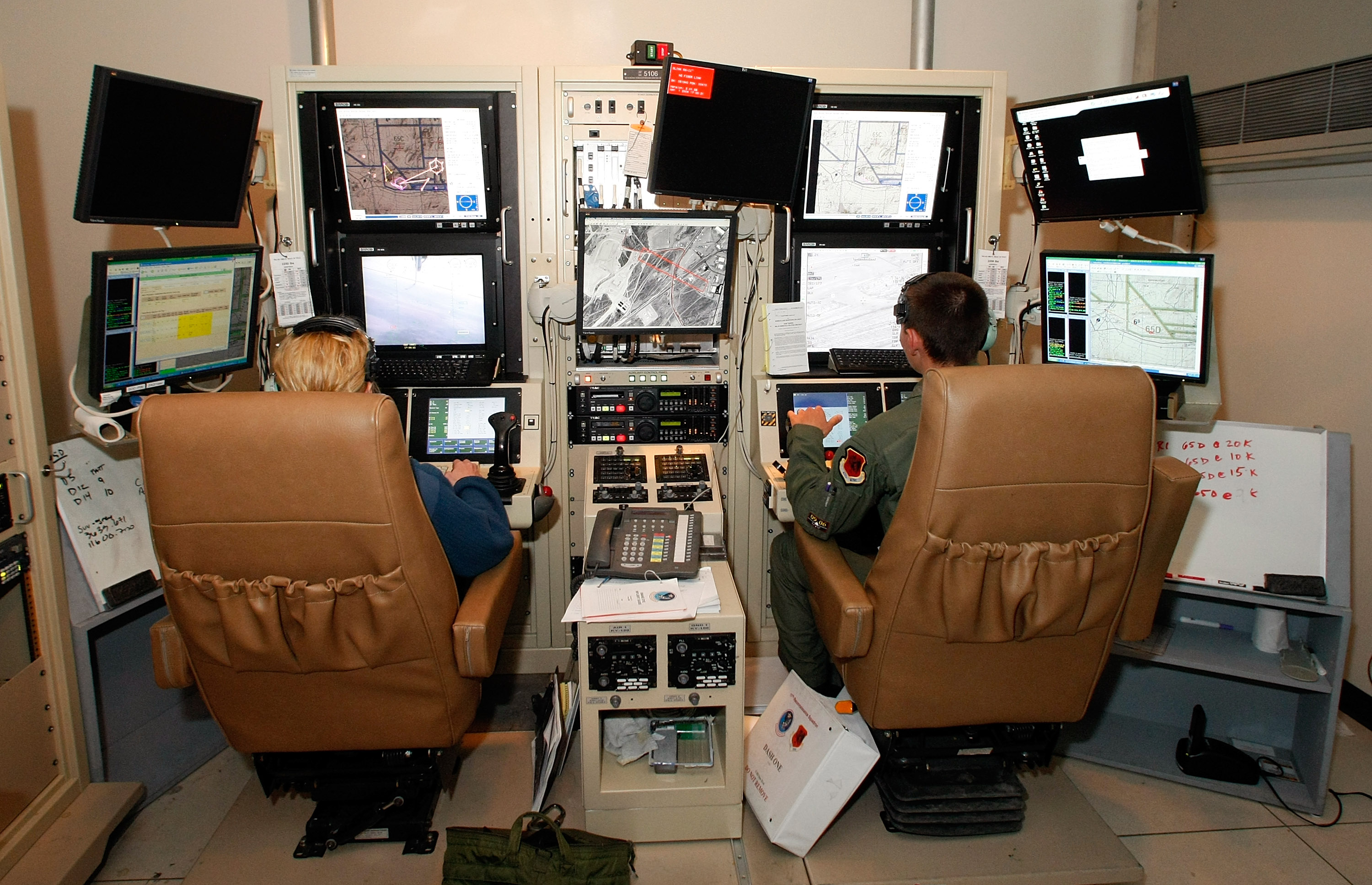 Drone operators like these at Creech Air Force Base, Nevada...