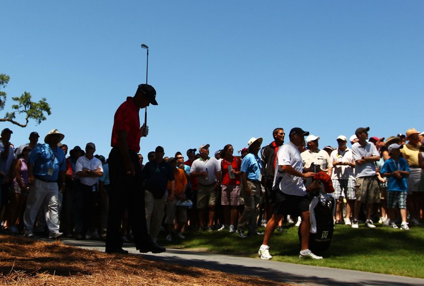 Tiger Woods plays an approach shot from the rough on the seventh hole, his last shot before withdrawing from the final round of The Players Championship held at The Players Stadium course at TPC Sawgrass on May 9, 2010 in Ponte Vedra Beach, Florida.
