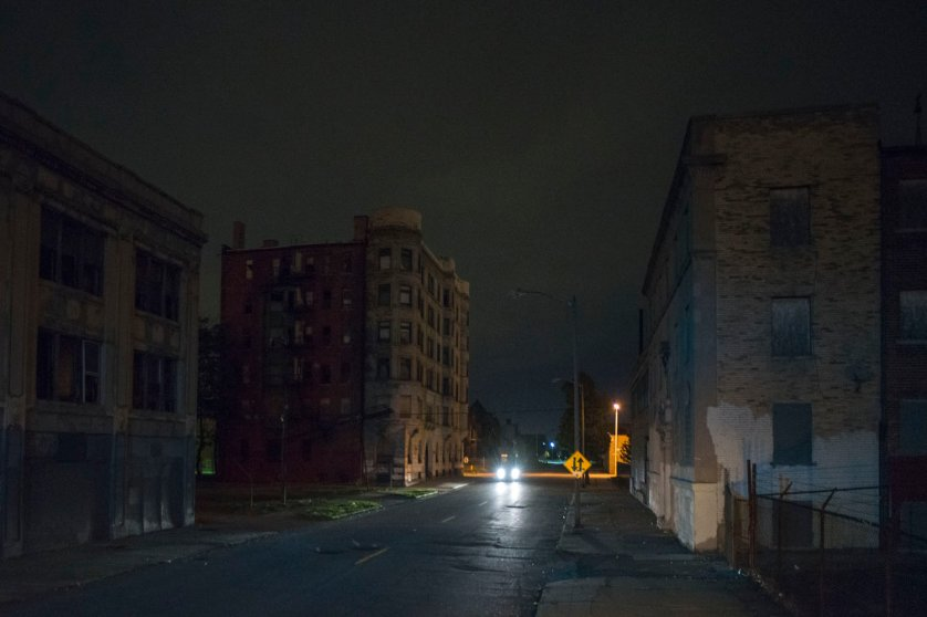 View East along Temple St. from Cass Ave., Detroit, 2013