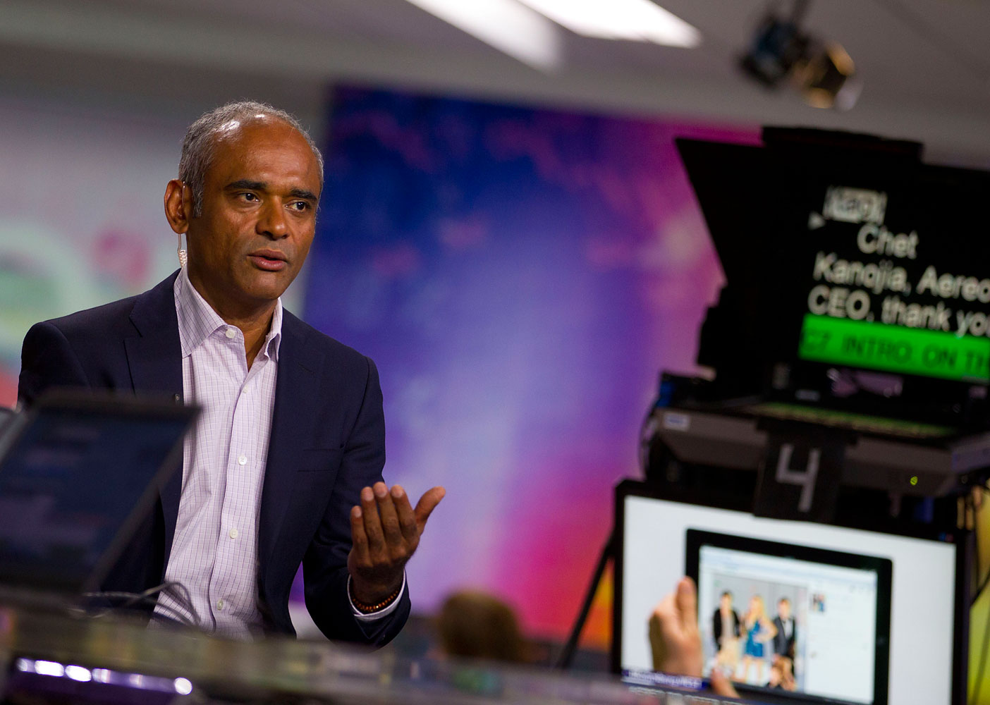 Chet Kanojia, chief executive officer and founder of Aereo Inc., speaks during a Bloomberg Television interview in New York, July 31, 2013.