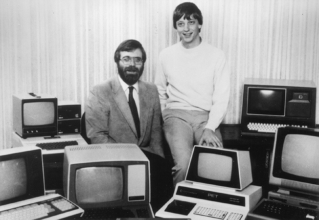Paul Allen (left) and Bill Gates in 1981, surrounded by some of the computers that ran their version of BASIC
