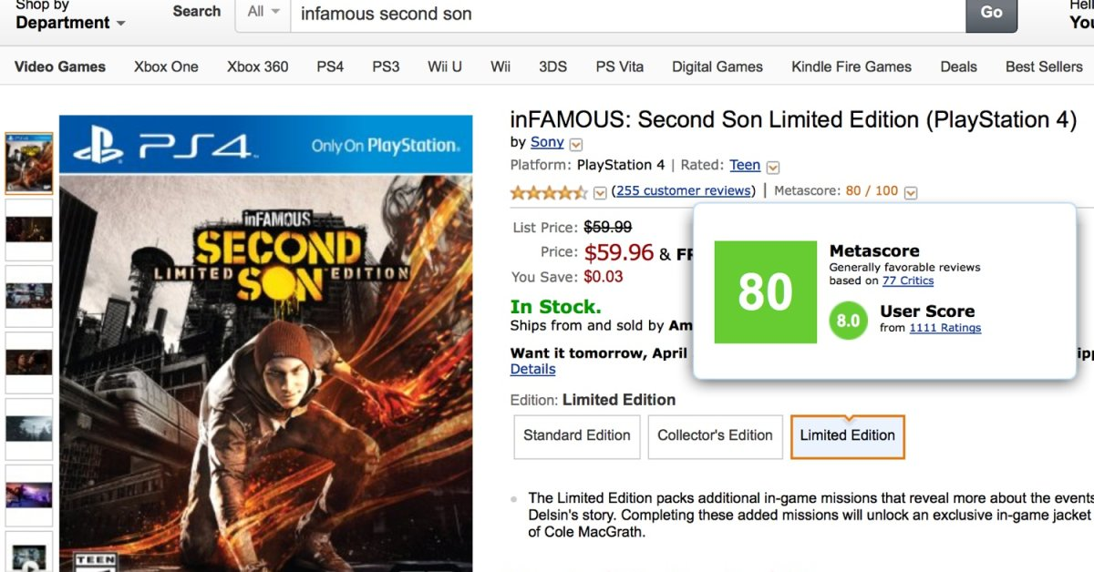 Amazon Now Shows Metacritic Scores for Video Games | Time