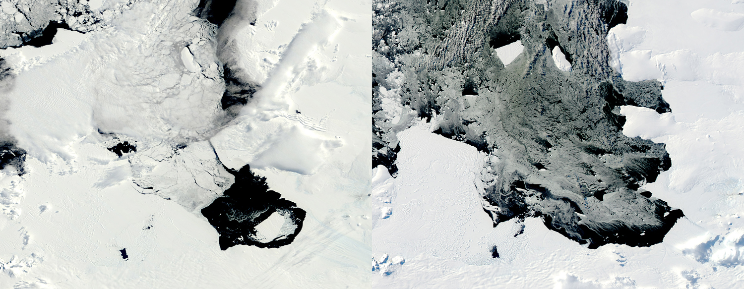 This combination of Dec. 10, 2013, left, and March 11, 2014 photos provided by NASA shows a large iceberg separating from the Pine Island Glacier and traveling across Pine Island Bay in Antarctica.