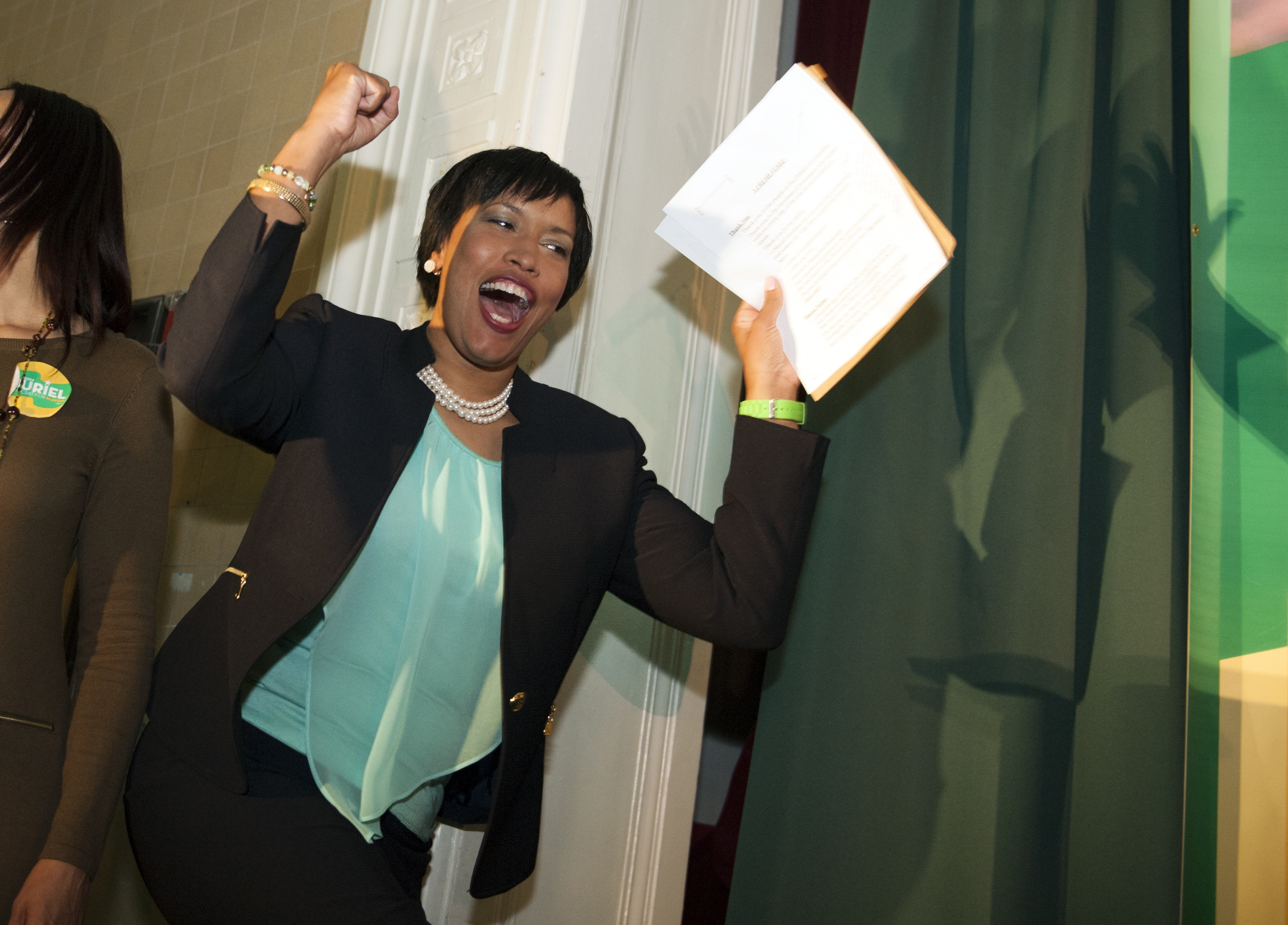Muriel Bowser celebrates after winning the Democratic mayoral primary in D.C. on April 1, 2014.
