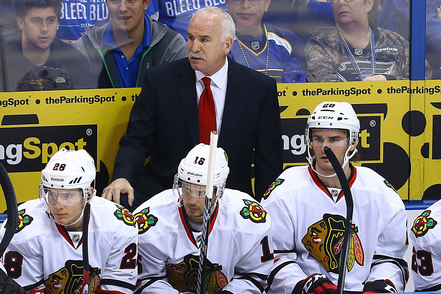 Chicago Blackhawks head coach Joel Quenneville during the first period in Game 1 of the NHL Playoffs between the St. Louis Blues and the Chicago Blackhawks at Scottrade Center in St. Louis, Missouri.