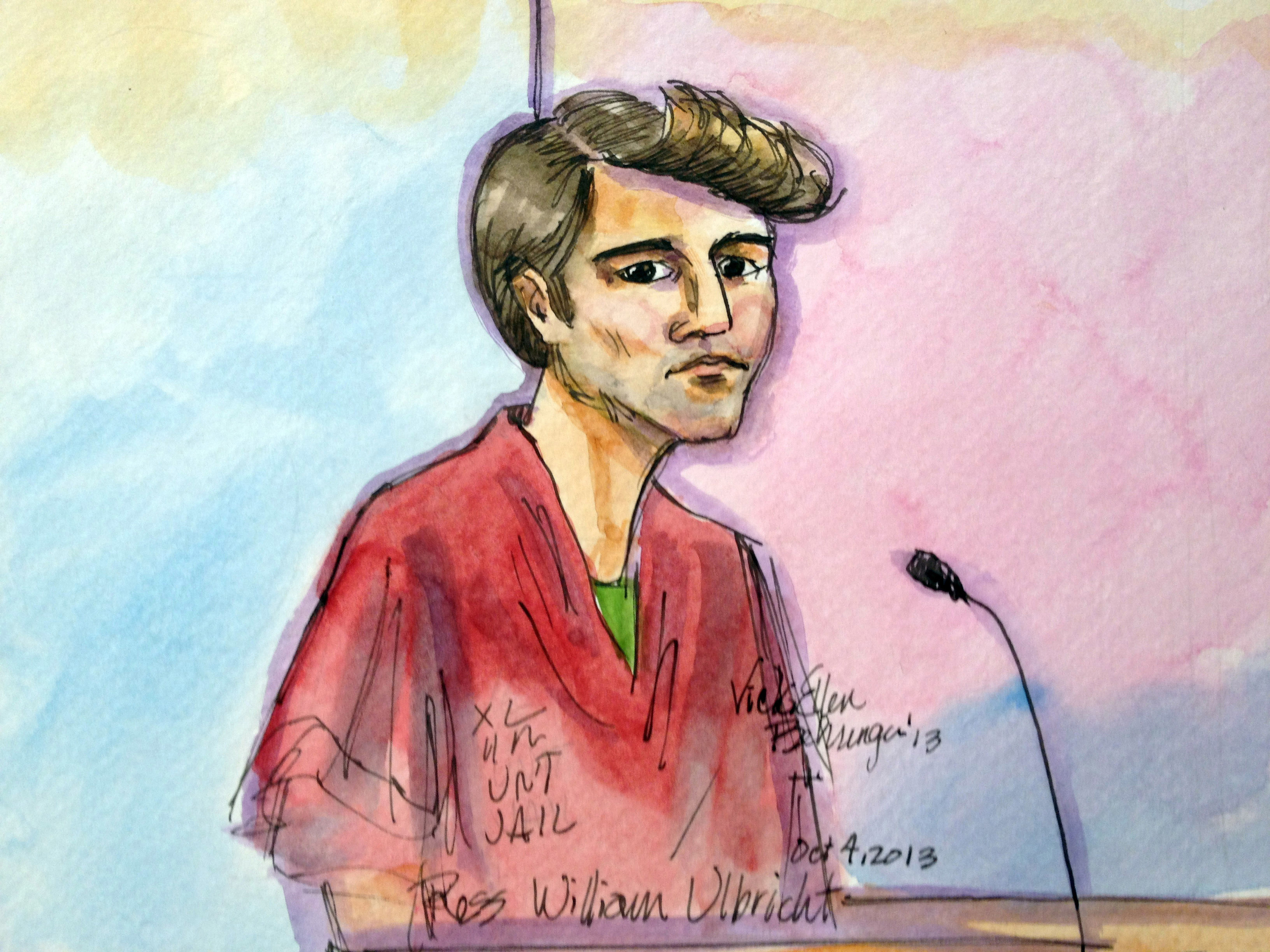 An artist rendering of Ross William Ulbricht during a federal court appearance in San Francisco on Oct. 4, 2013.