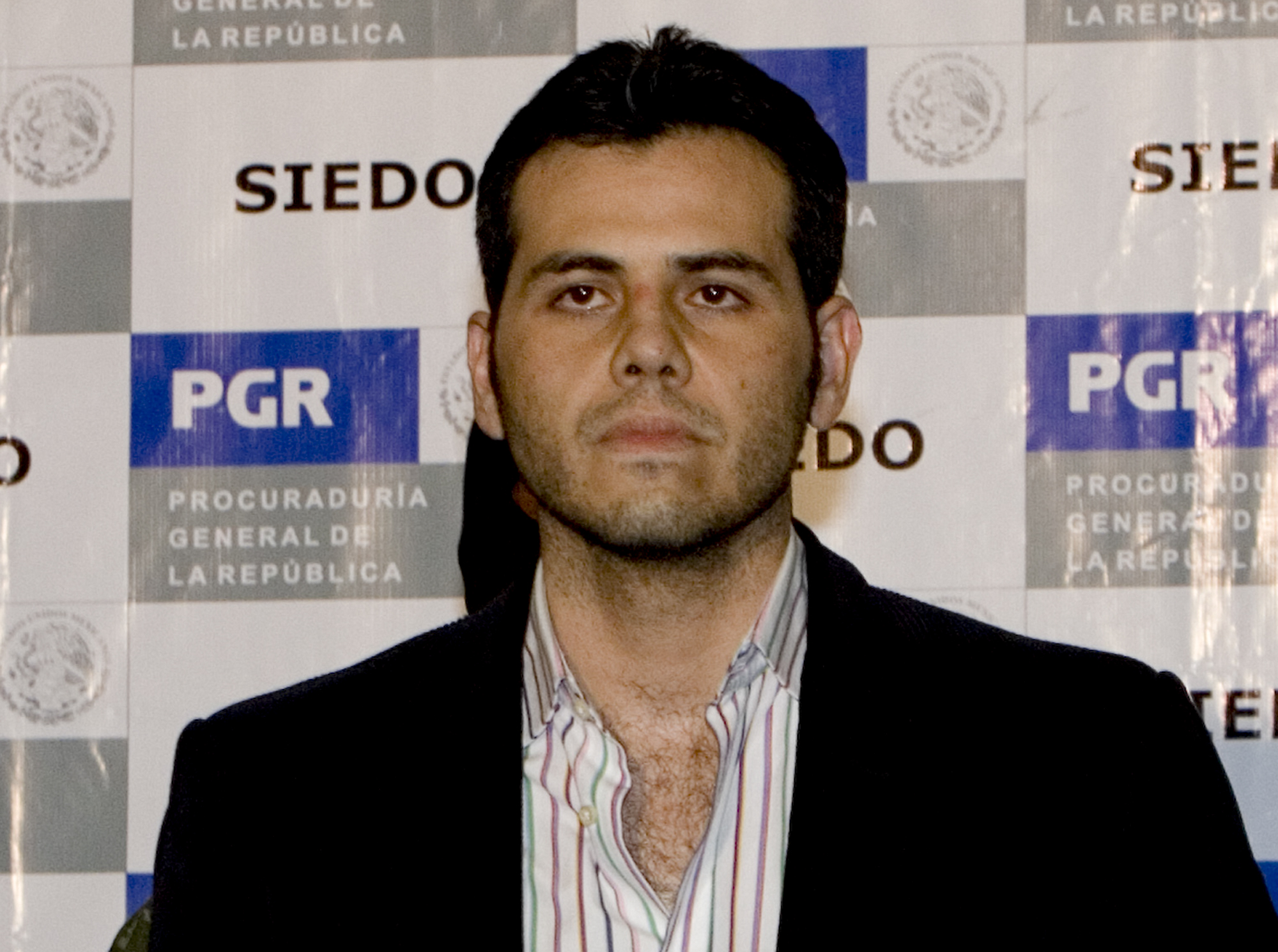 Jesus Vicente Zambada Niebla is presented to the media after his arrest in Mexico City, March 19, 2009.
