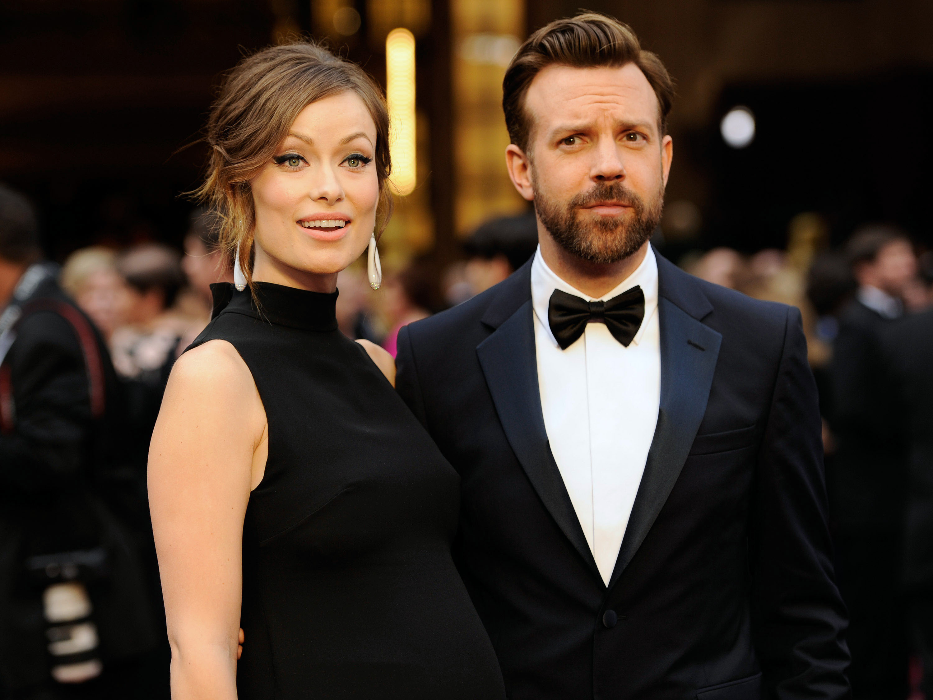 Olivia Wilde, and Jason Sudeikis arrive at the Oscars at the Dolby Theatre in Los Angeles on March 2, 2014. It's a boy for Wilde and Sudekis. A spokeswoman for the  Tron: Legacy  actress said the couple welcomed son Otis Alexander on Sunday, April 20, 2014.