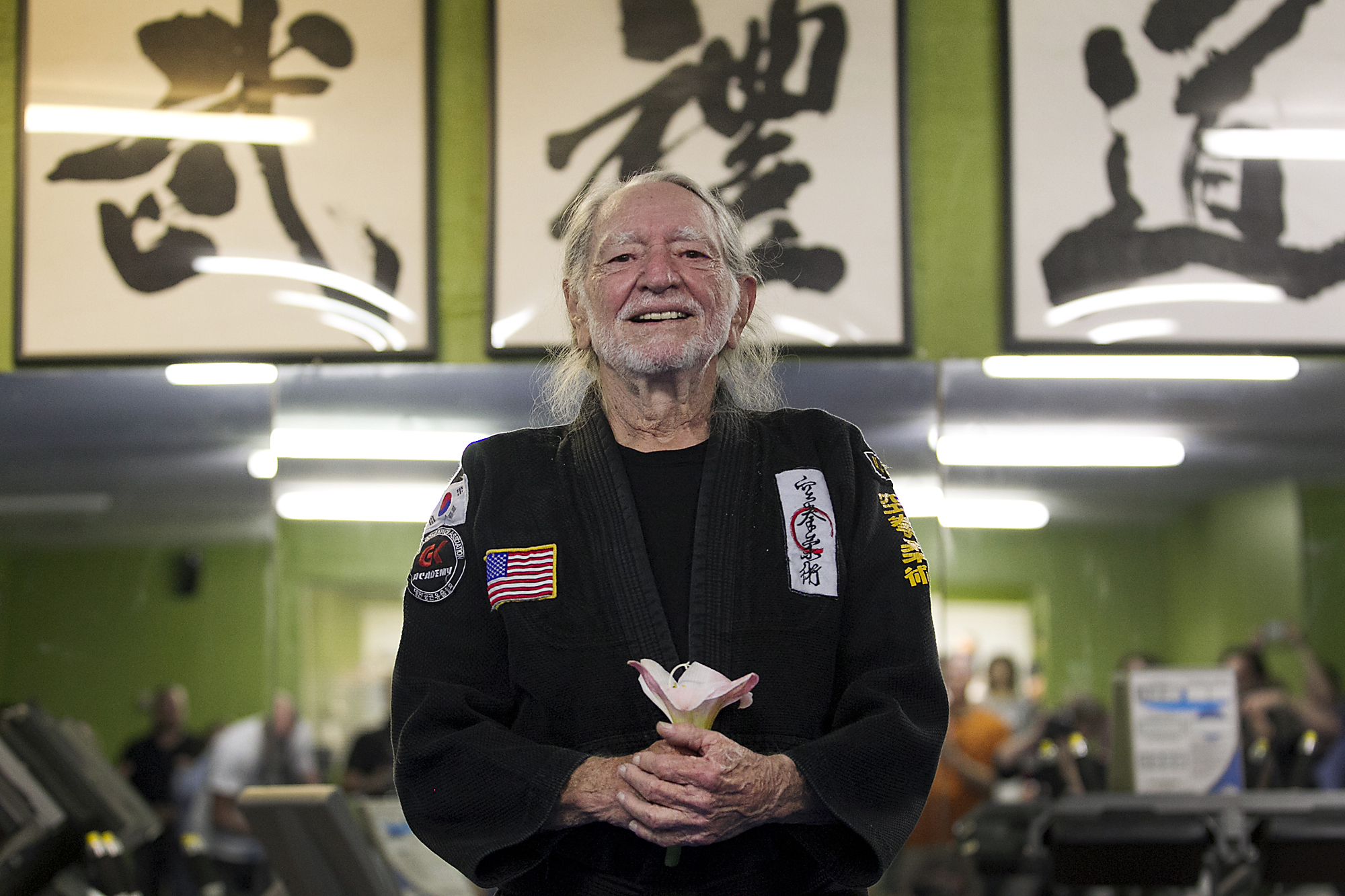 Willie Nelson, the country music icon who turns 81 this week, smiles as he receives his fifth-degree black belt in the martial art of Gong Kwon Yu Sul on Monday, April 28, 2014, in Austin, Texas.