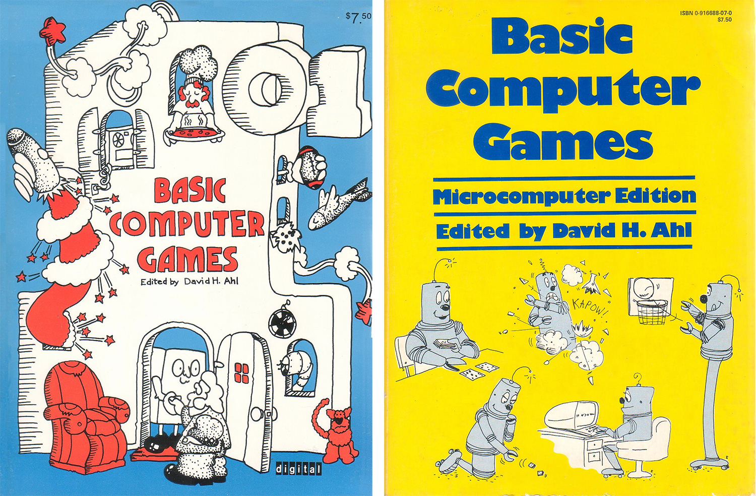 David Ahl's seminal anthology of BASIC games, in its original form as published by Digital Equipment Corp. and a later version rejiggered for PCs