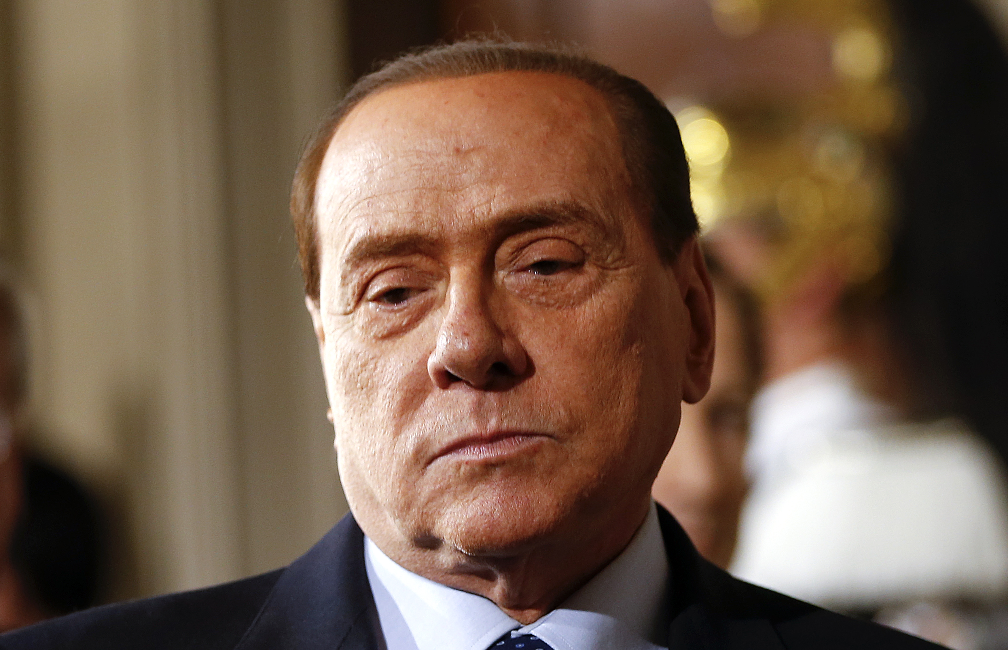 Leader of Forza Italia party Silvio Berlusconi at the end of the consultations with Italian President Giorgio Napolitano at the Quirinale Palace in Rome on Feb. 15, 2014.