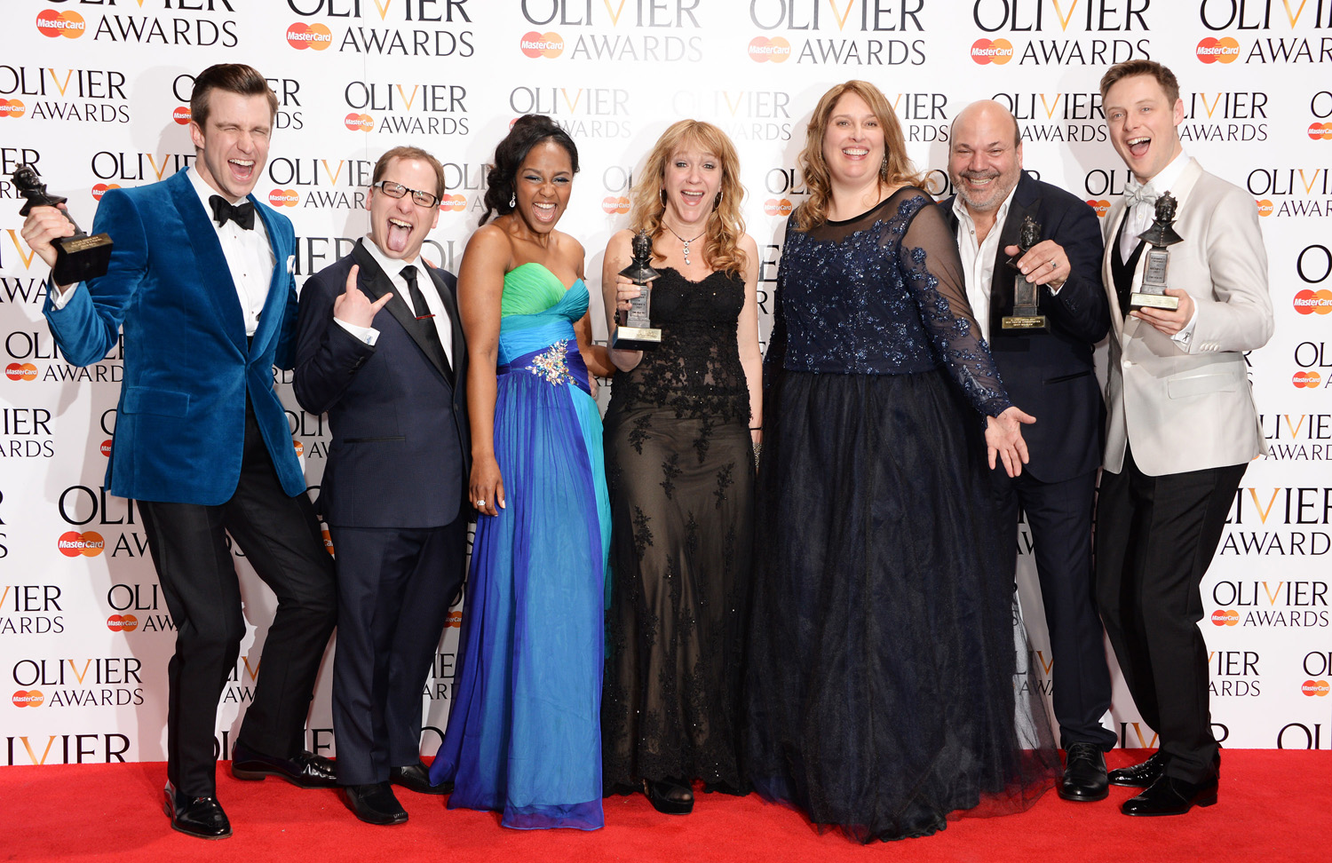 From left: Gavin Creel, Jared Gertner, Alexia Khadime, Sonia Friedman, Anne Garefino, Casey Nicholaw and Stephen Ashfield celebrate the Mastercard Best New Musical Award for  The Book Of Mormon  in the press room at the Laurence Olivier Awards at The Royal Opera House on April 13, 2014 in London.