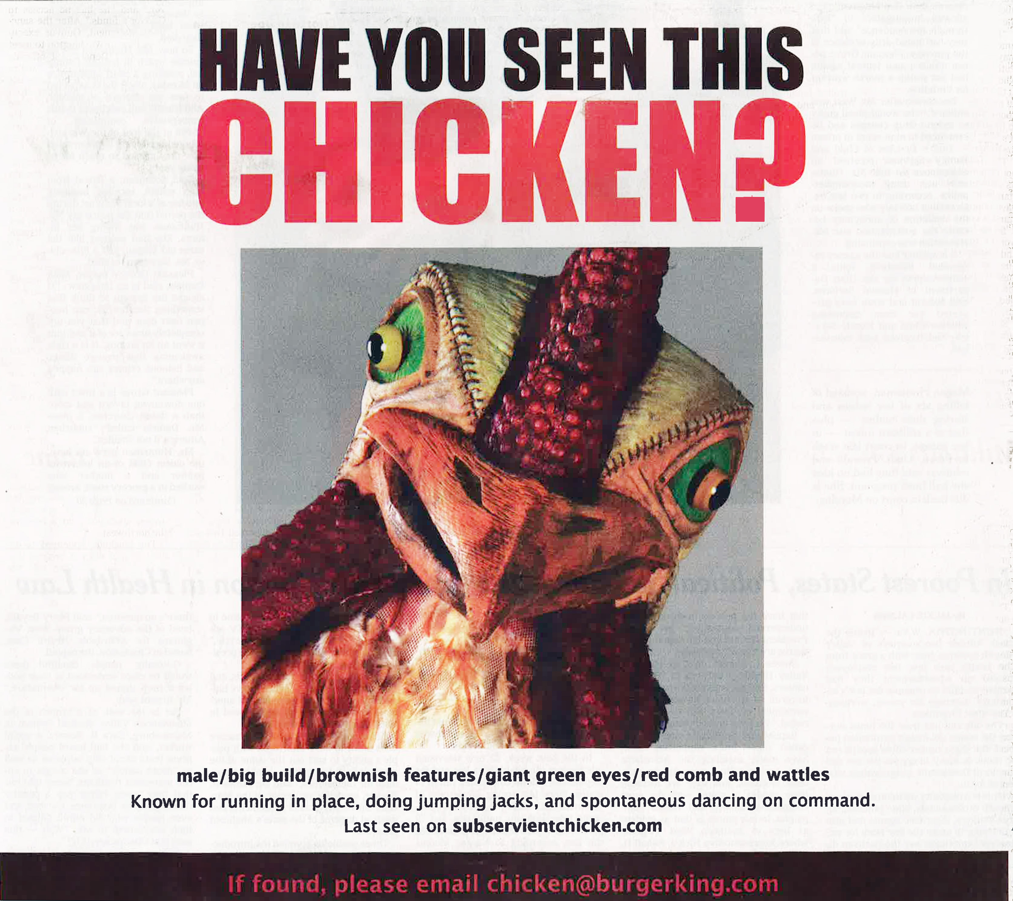 This Burger King advertisement appeared in the New York Times Apr. 27, 2014