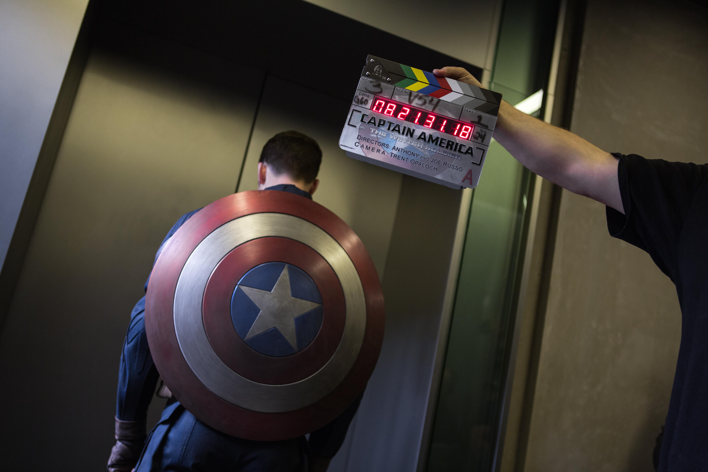 Chris Evans before an elevator fight scene.
