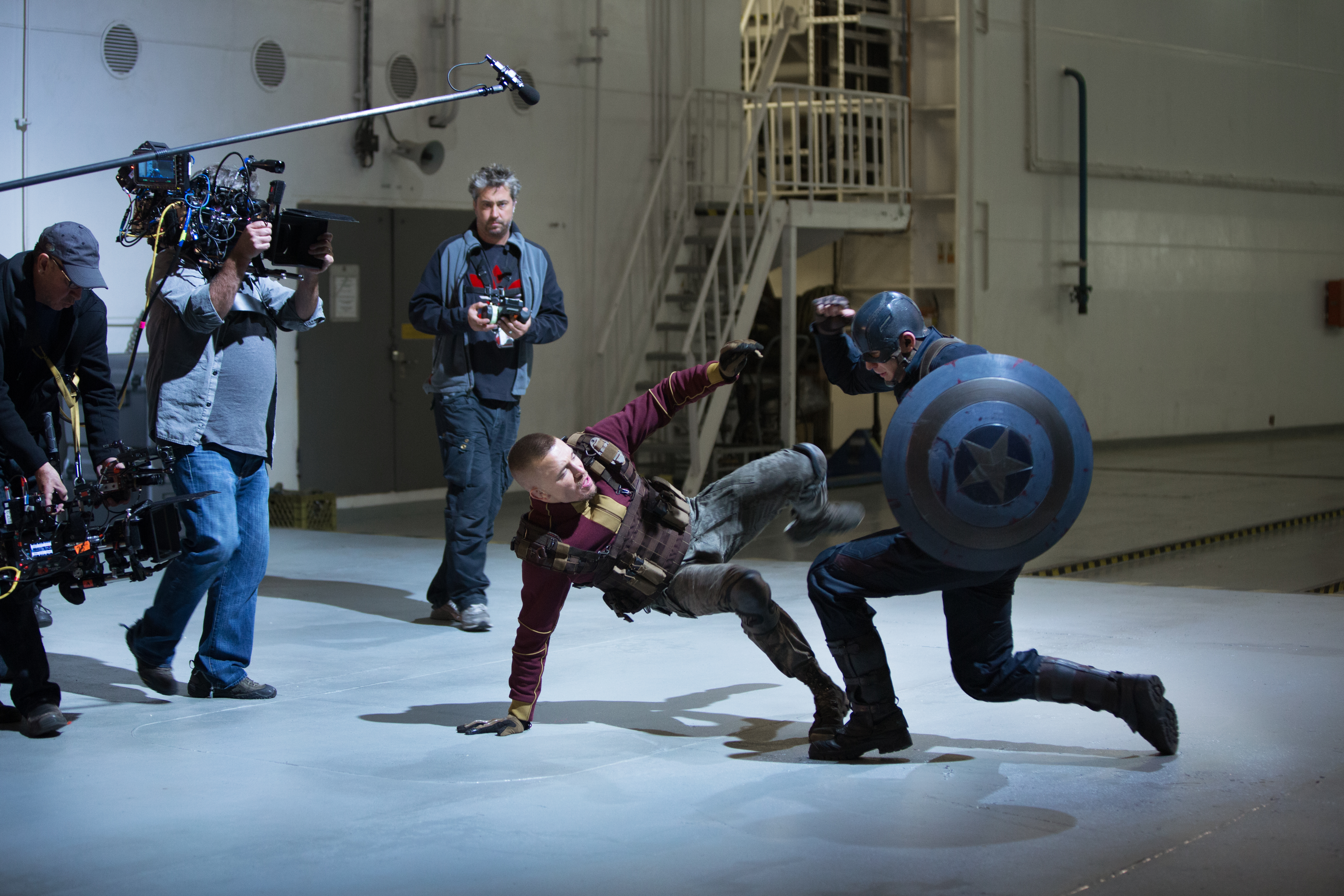 Captain America fights with Georges St-Pierre who plays the mercenary Georges Batroc.