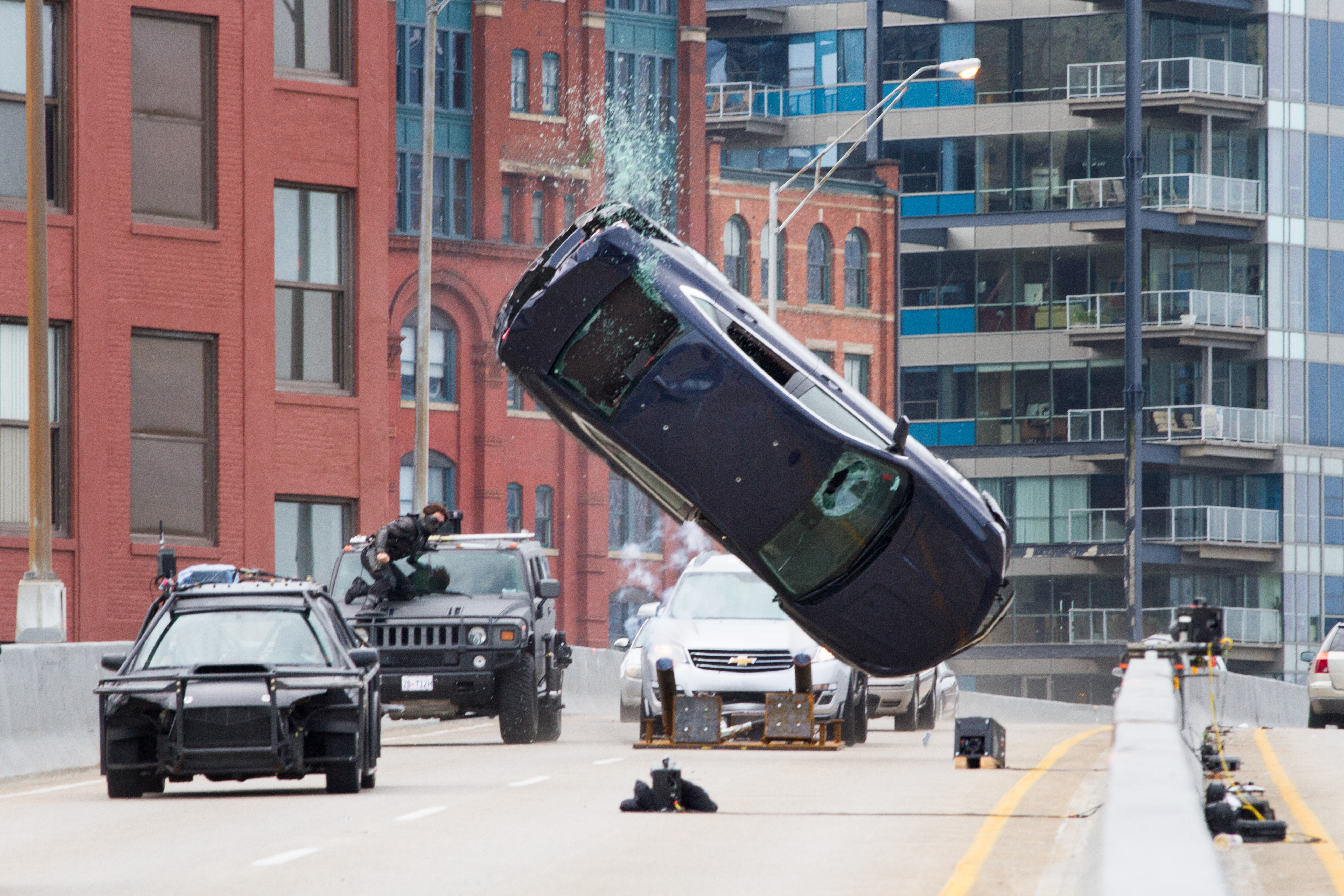 Not all effects are done on the computer. Above, a car goes flying in a chase scene.