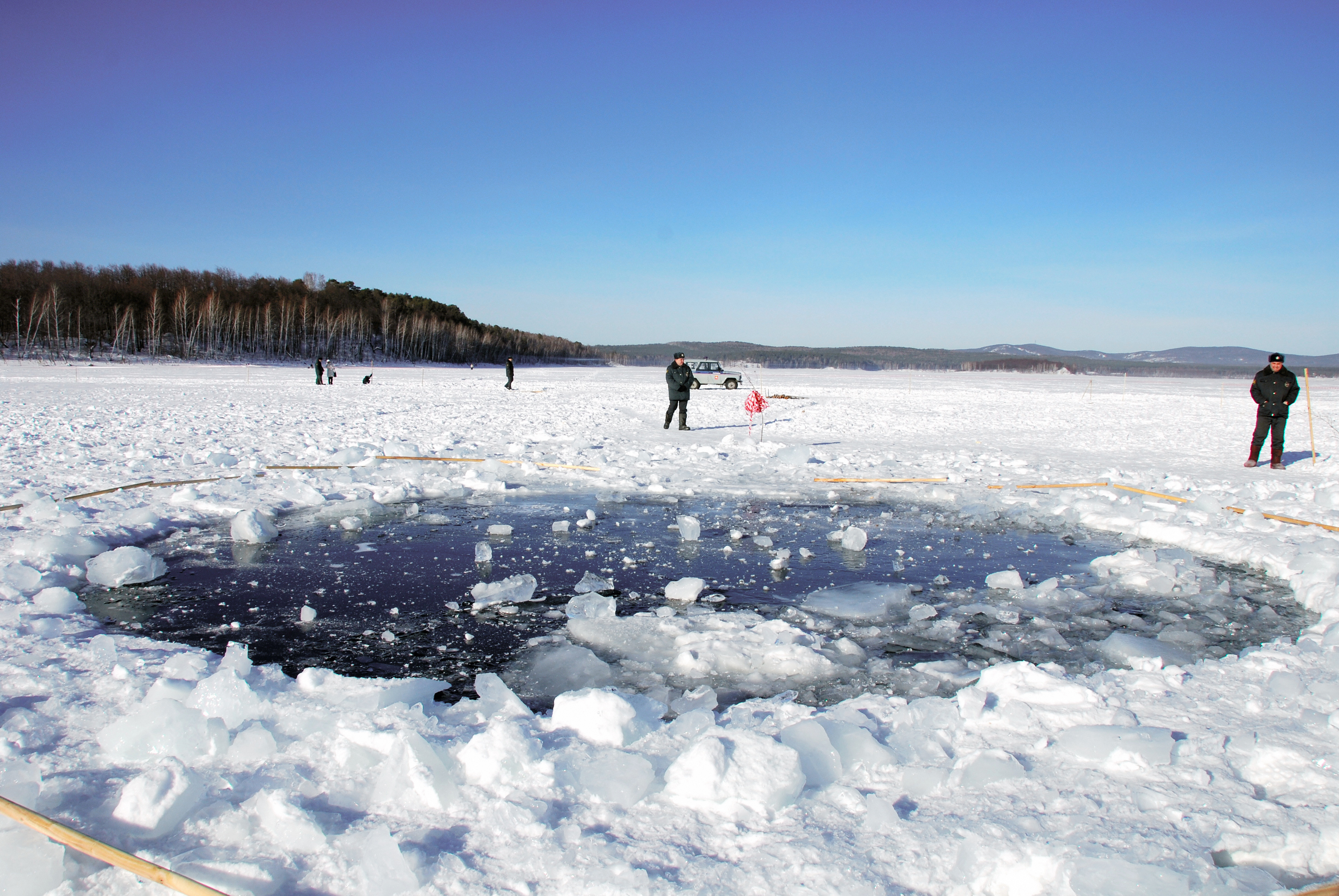 Bullseye: A hole left in a frozen lake in Chelyabinsk, thought to have been punched out by a fragment of the meteor that struck in 2013.