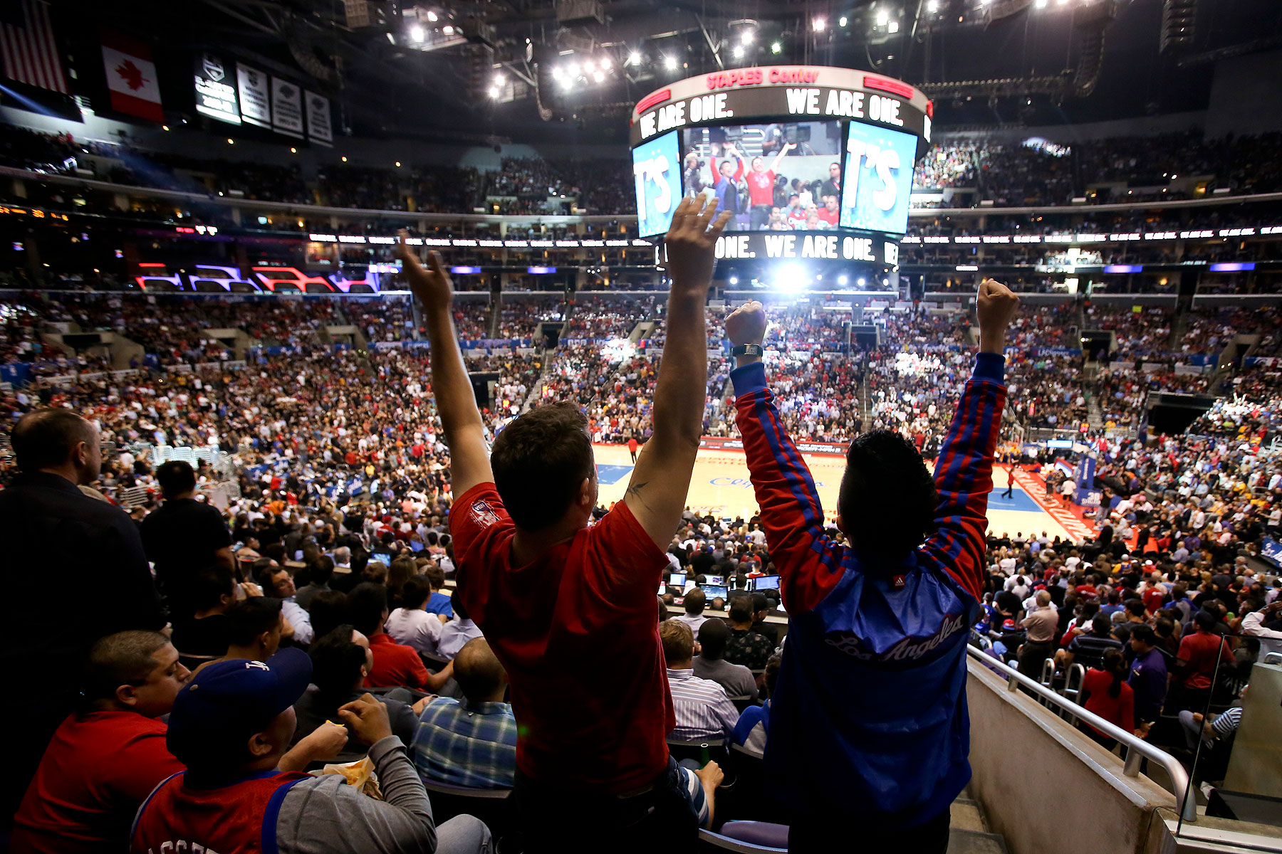 Fans show their support of the Los Angeles Clippers during Game 5 of the Clippers' opening-round NBA basketball playoff series against the Golden State Warriors on April 29, 2014, in Los Angeles