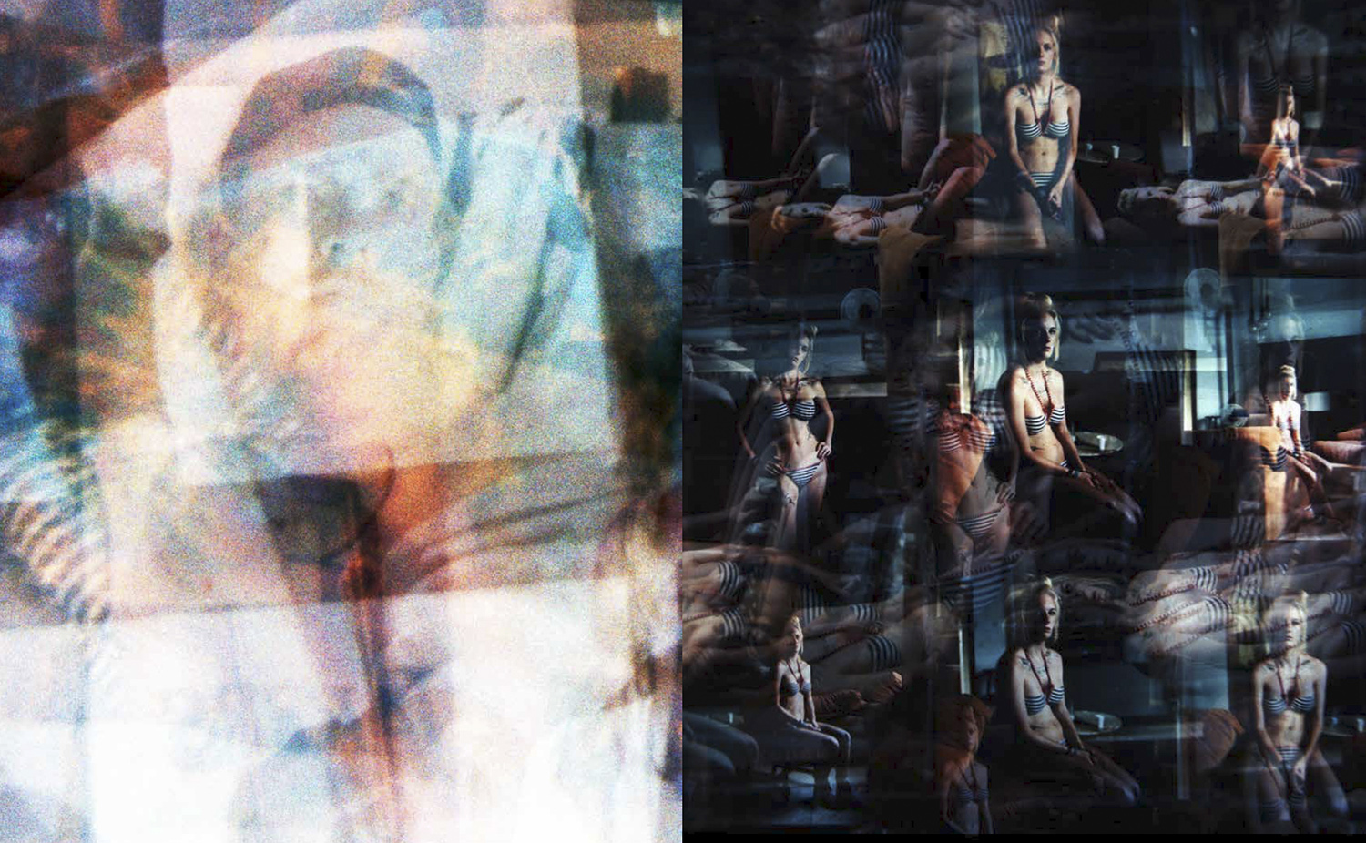 Coalescence I, 2013 and Coalescence II, 2013.These are re-photographed contact sheets from my Ibiza portrait series. A kind of 'frottage' or divination through entrail gazing, a kind of shamanistic process where I spontaneously and intuitively multiply re-photographed prints and contact sheets and watched for shapes or specters to appear that spoke beyond the 'straight' photographs.
