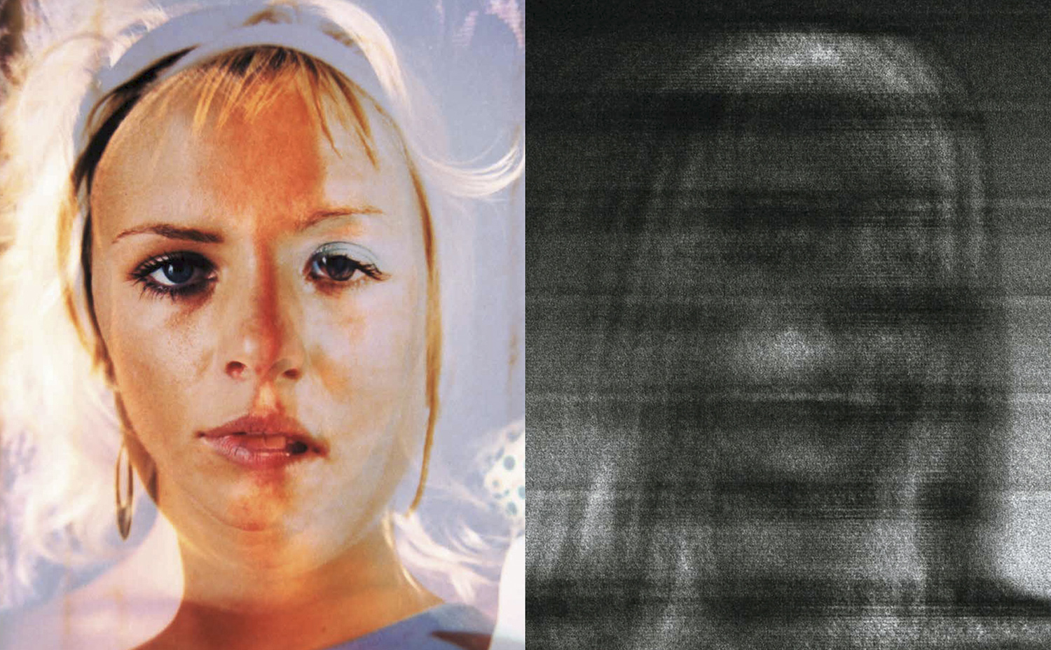 Coalescence XIII, 2013 and Error V H J (detail), 2008. The image on the left is an amalgamation of two portraits of girls I shot in Ibiza in 2002 and 2006. I photographed the original prints onto a single frame of film and then reprinted. I'm toying with the idea of oneness and unity at the quantum level. We are different and yet the same, and we shift from one state to another. The image on the right is part of the Ibiza Mistakes series. Ibiza is significant in the history of rave culture and was where English DJs first took ecstasy in 1987, in Amnesia nightclub, before returning to England. Once home, they tried to replicate the MDMA experience and sparked what came to be known as The Second Summer of Love.