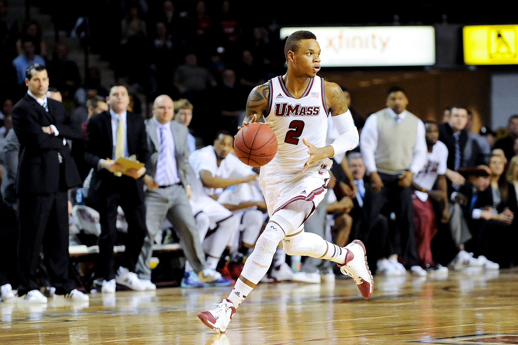UMass guard Derrick Gordon dribbles the ball during a game against the Fordham Rams at the Mullin Center in Amherst, Mass., Jan. 26, 2014.
