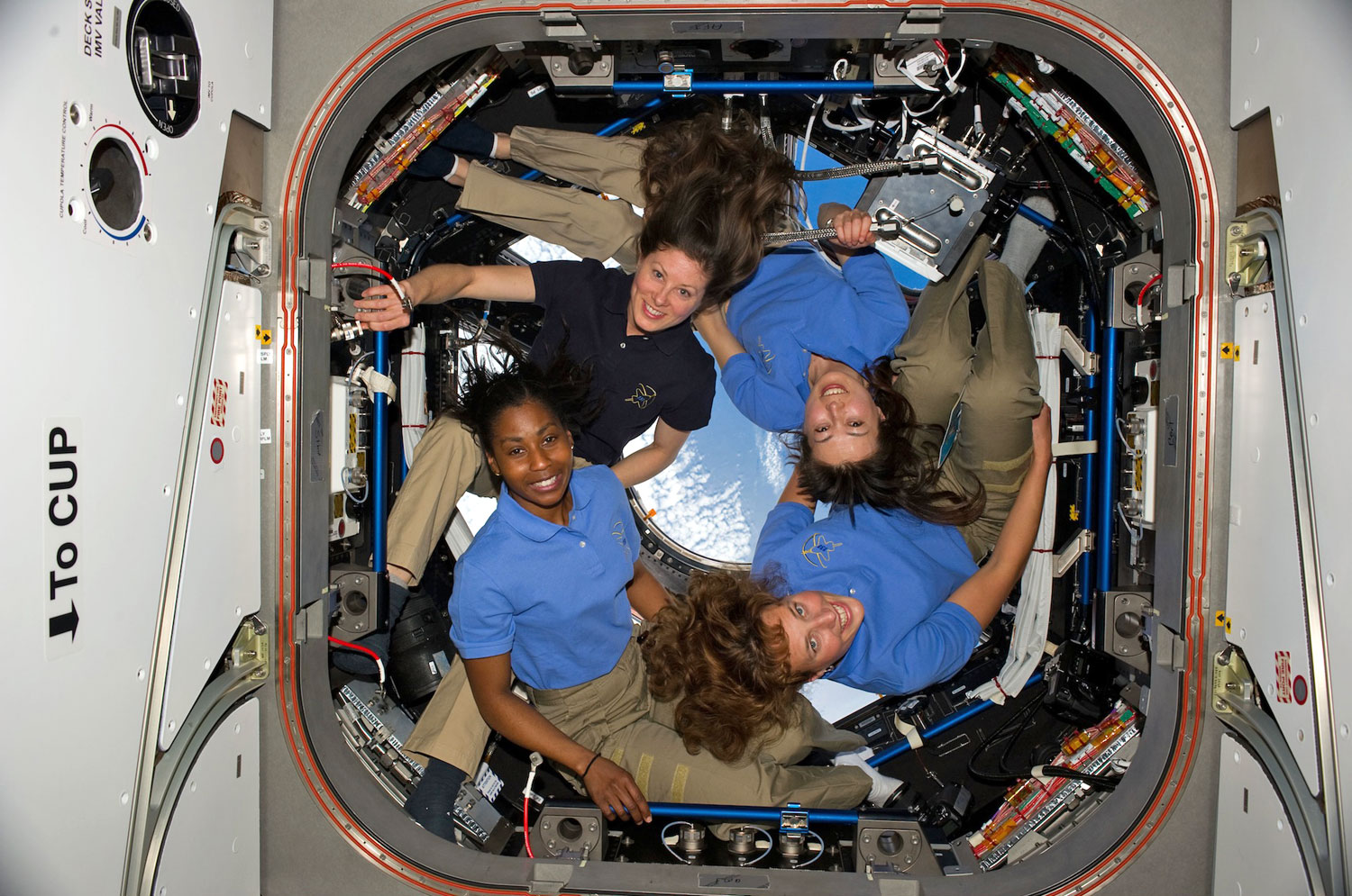 The greatest number of women in space at any one time was four, in 2010. From lower right: NASA astronauts Dorothy Metcalf-Lindenburger, Stephanie Wilson, Tracy Caldwell Dyson, and Japan Aerospace Exploration Agency (JAXA) astronaut Naoko Yamazaki on the International Space Station in the Cupola.