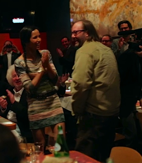Wylie Dufresne is surprised by a retinue of famous foodies, including Padma Lakshmi.