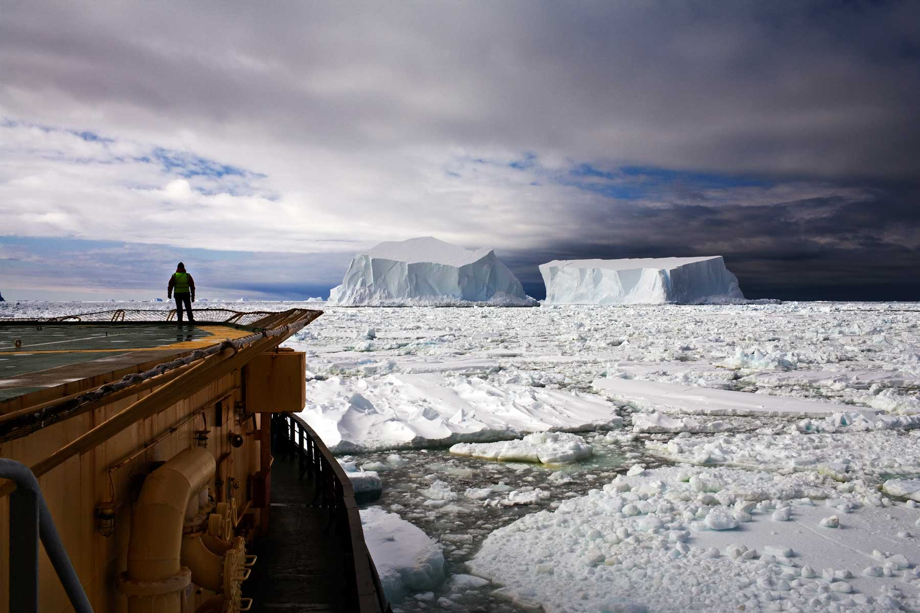Looking at the Icebergs, Near Franklin Island, Ross Sea, Antarctica in 2006.