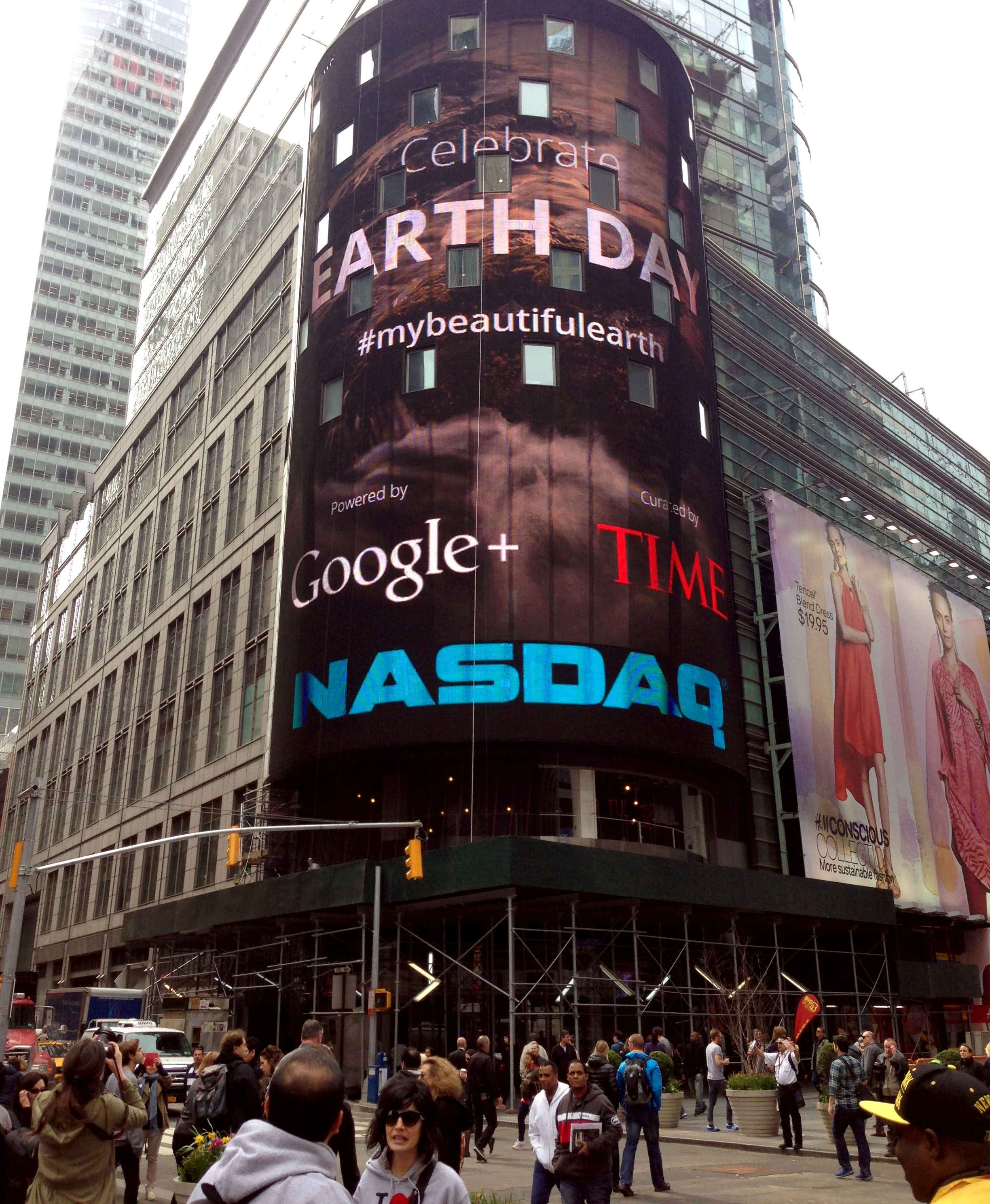 The NASDAQ billboard in Times Square features Google+ users' earth day photos selected by TIME's photo editors.