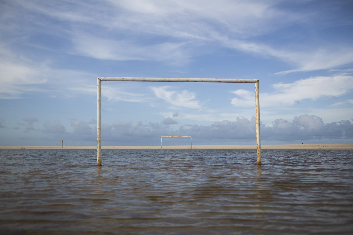 Apr. 26, 2014. A soccer field is seen under the water during a high tide in Beberibe near Fortaleza, Brazil, one of the host cities of the 2014 soccer World Cup.