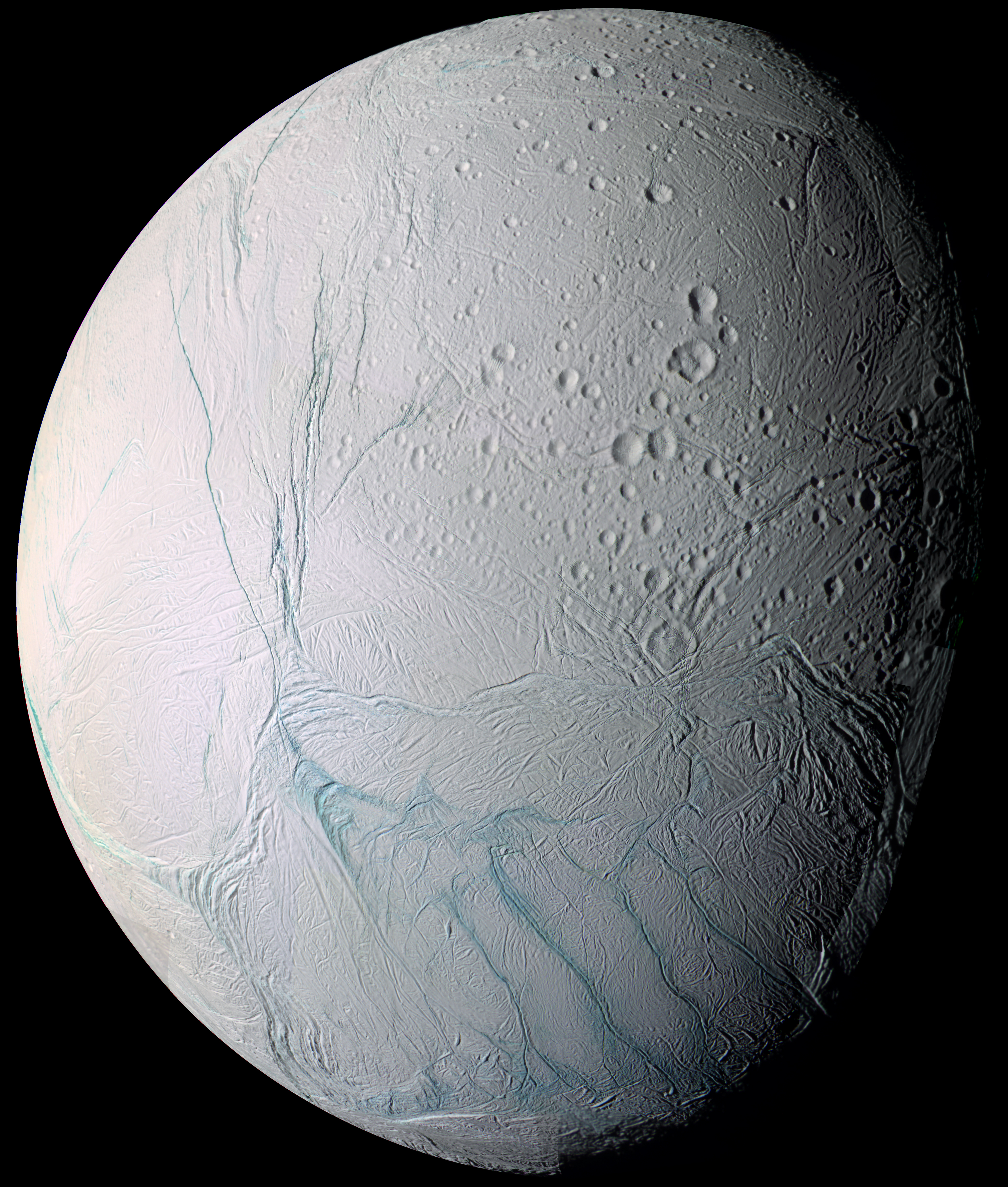 Saturn's moon Enceladus, photographed by the Cassini spacecraft.