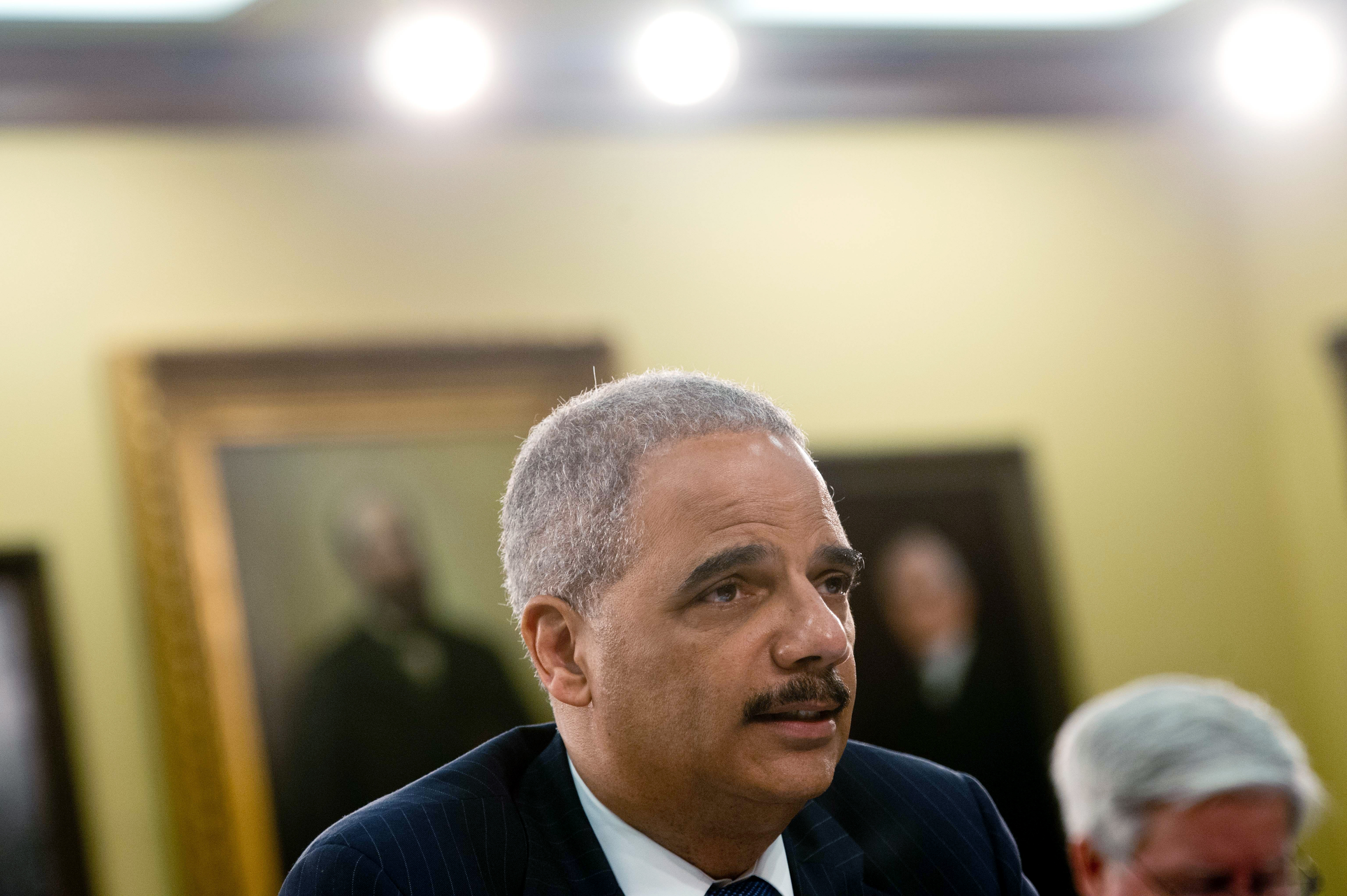 U.S. Attorney General Eric Holder testifies before a House Appropriations Committee Commerce, Justice, Science, and Related Agencies Subcommittee hearing on the Justice Department's fiscal year 2015 budget request on Capitol Hill in Washington, D.C. on April 4, 2014.