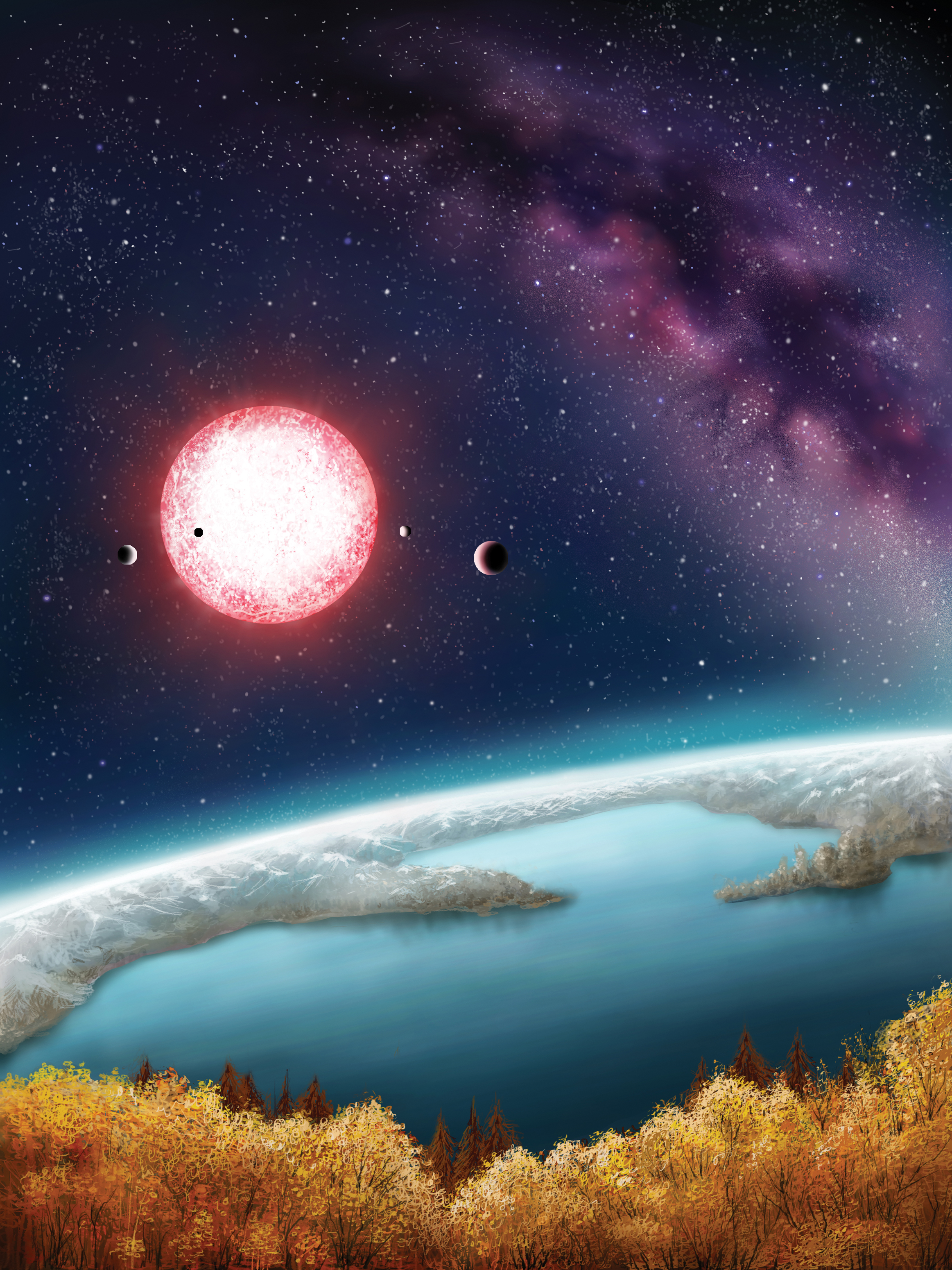 An artist's conception of Kepler 186f, with its reddish sun setting over its maybe-ocean.