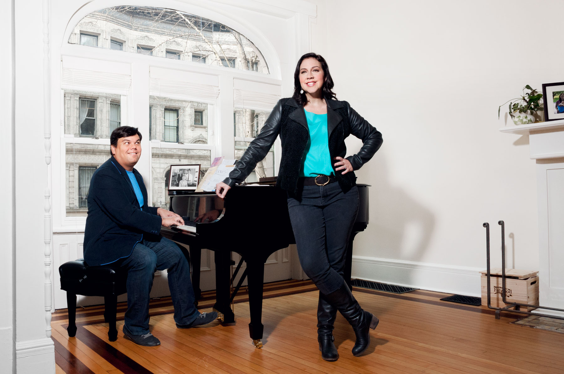 Songwriters Lopez and Anderson-Lopez at home in Brooklyn.