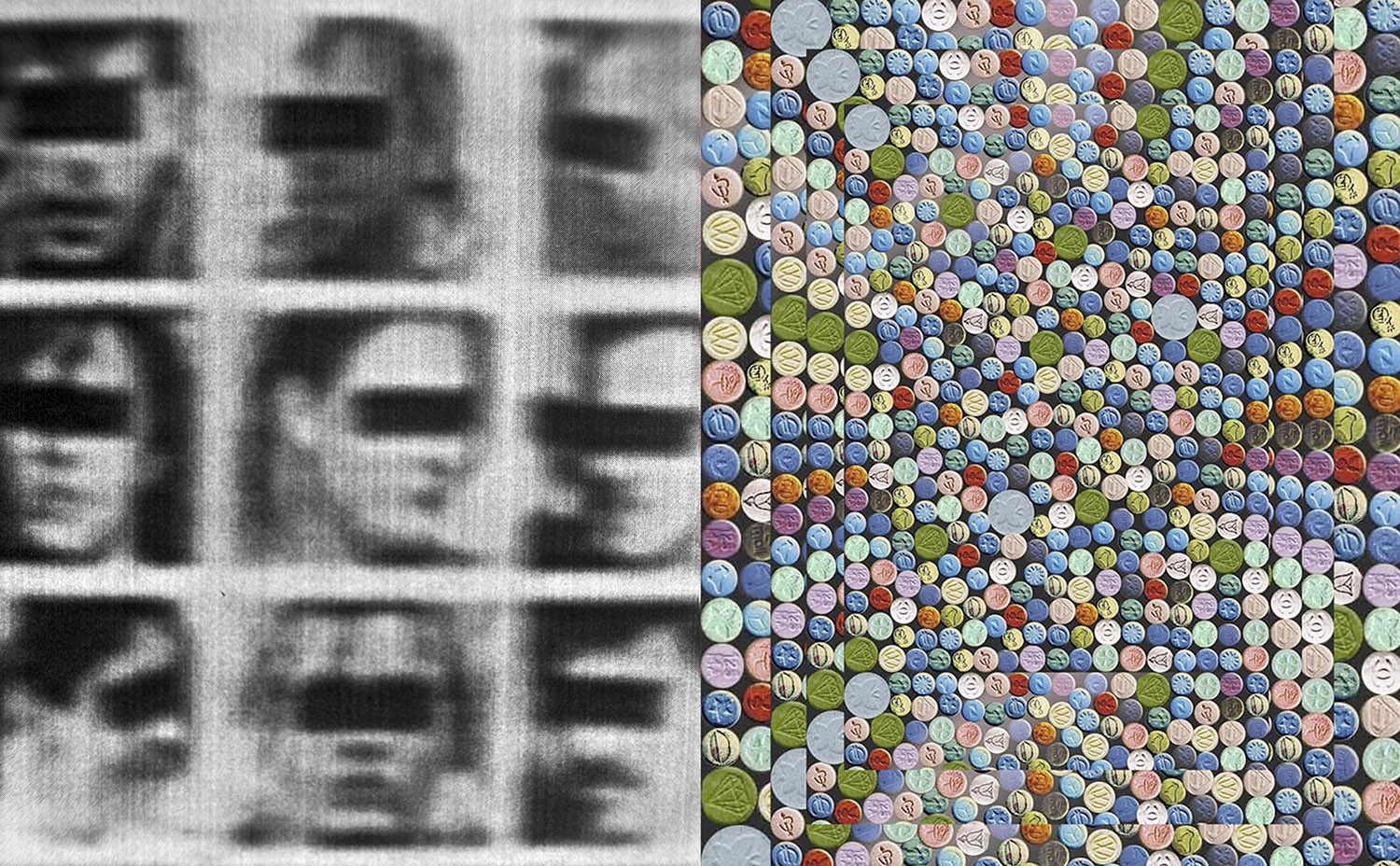 Gallery of Hate (Poll Tax Riots 1990), 2013 and Pills Fractal, 2013. The left hand-side is a reworking of a newspaper picture from titled 'Gallery of Hate', which was a call for the arrest of people photographed participating in the Poll Tax riots in London 1990. Pills Fractal, 2013 is an image sourced from the internet and reworked, showing Ecstasy pills (MDMA) – the drug which fueled rave culture. The Poll Tax riots and later the Criminal Justice and Order bill of 1994 are credited with politicizing a formerly apolitical youth movement (rave culture).