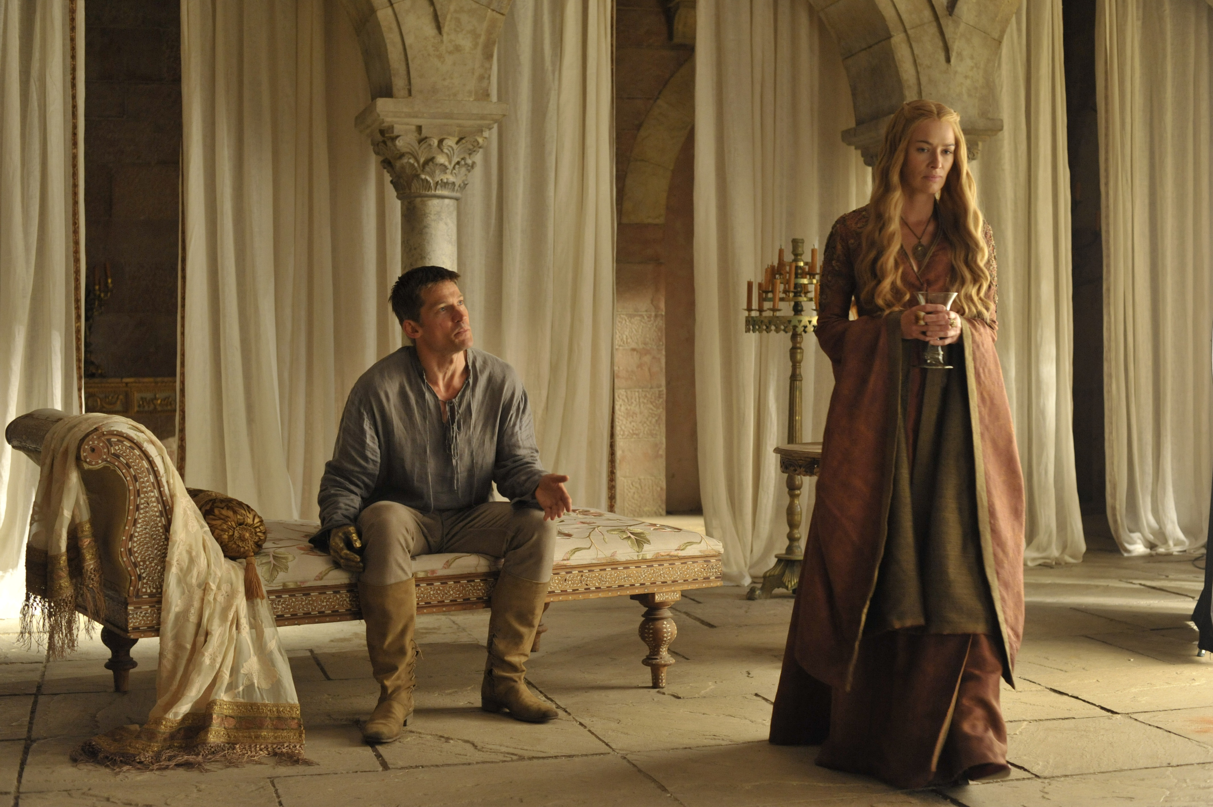 Jaime, played by Nikolaj Coster-Waldau, and Cersei, played by Lena Headey, in Game of Thrones