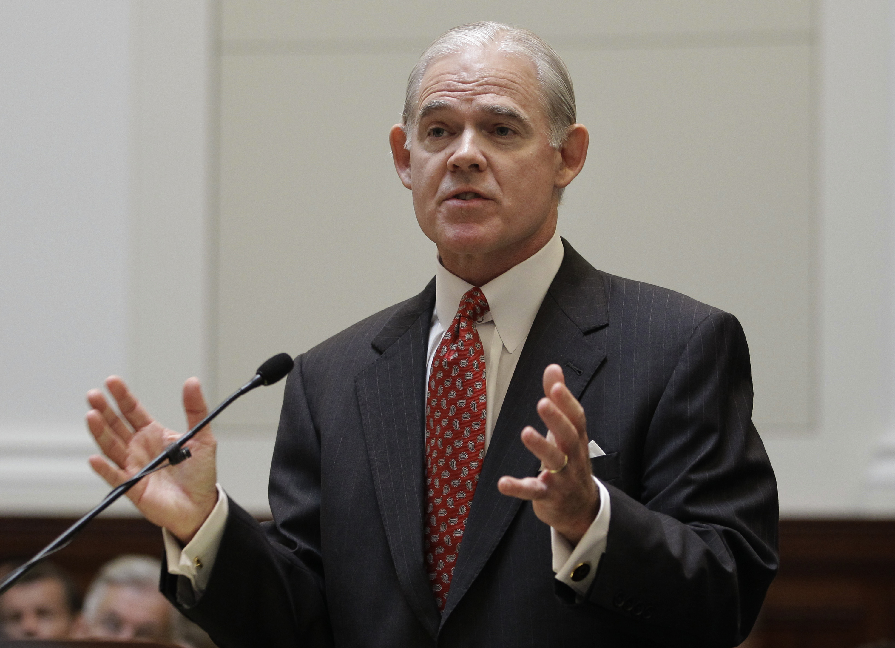 This Sept. 6, 2011 file photo shows Attorney Charles Cooper speaking in a courtroom during a California State Supreme Court hearing in San Francisco.