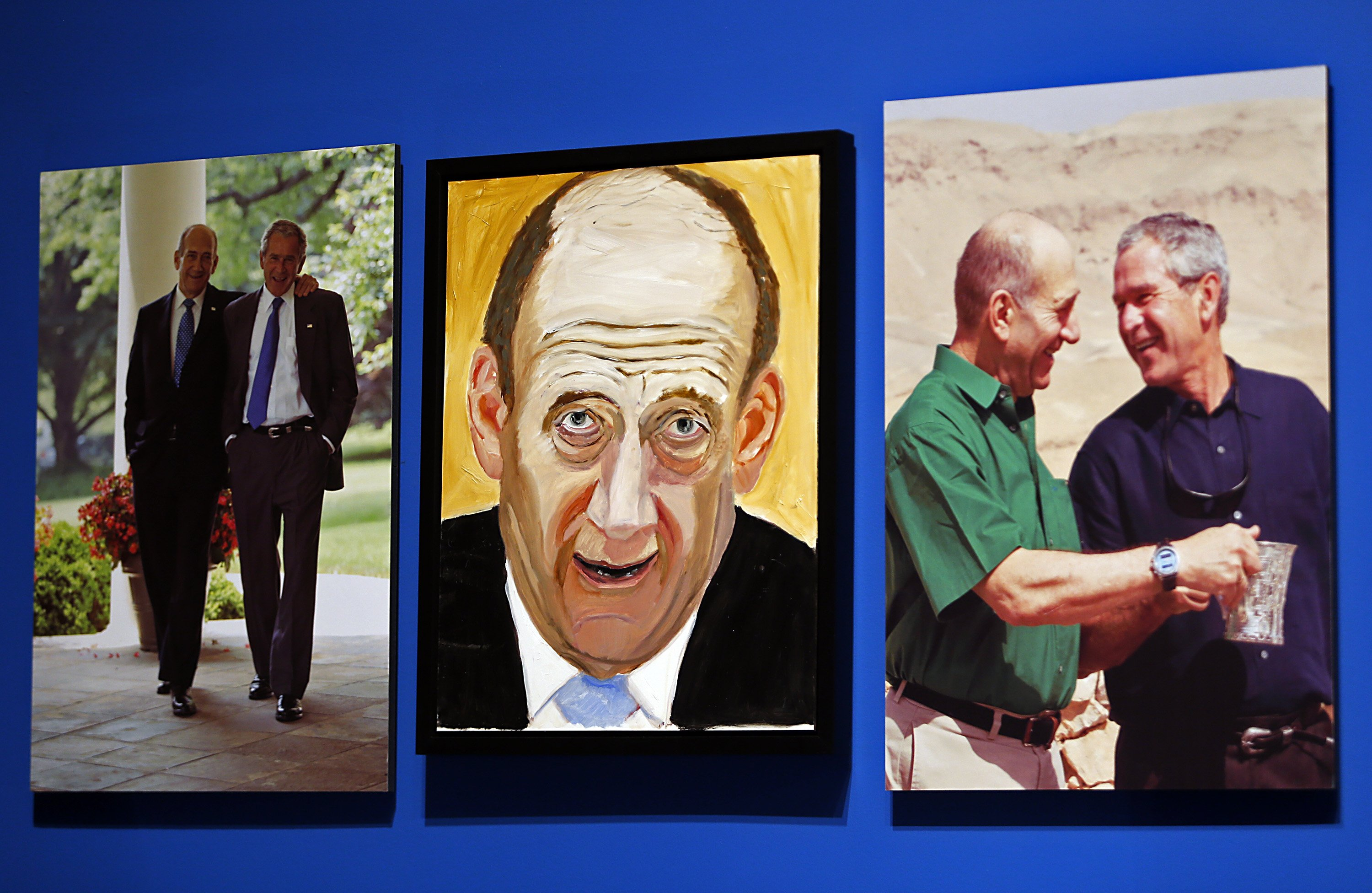 A portrait of Ehud Olmert, Prime Minister of Israel, painted by former president George W. Bush.