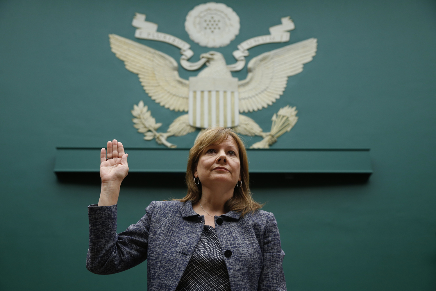 General Motors (GM) Chief Executive Mary Barra (C) told the House Energy and Commerce Committee that GM valued their customer's safety in Washington April 1, 2014.
