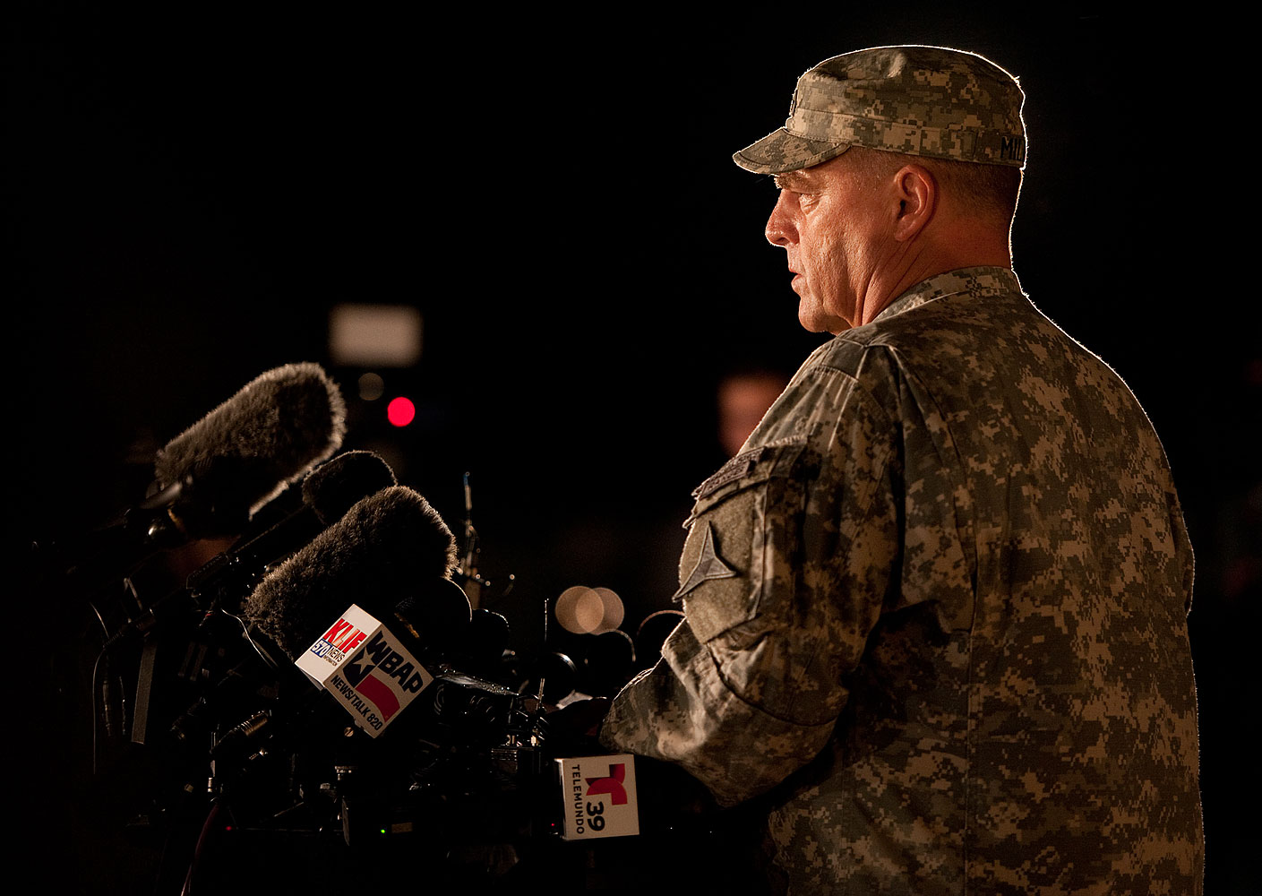 Lt. Gen. Mark Mileey, III Corps and Fort Hood commanding general addresses news media at Fort Hood military base near Killeen, Texas, April 2 2014.