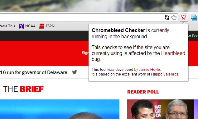 The Chromebleed extension for Google's Chrome web browser checks for Heartbleed-affected sites while you're surfing the web.