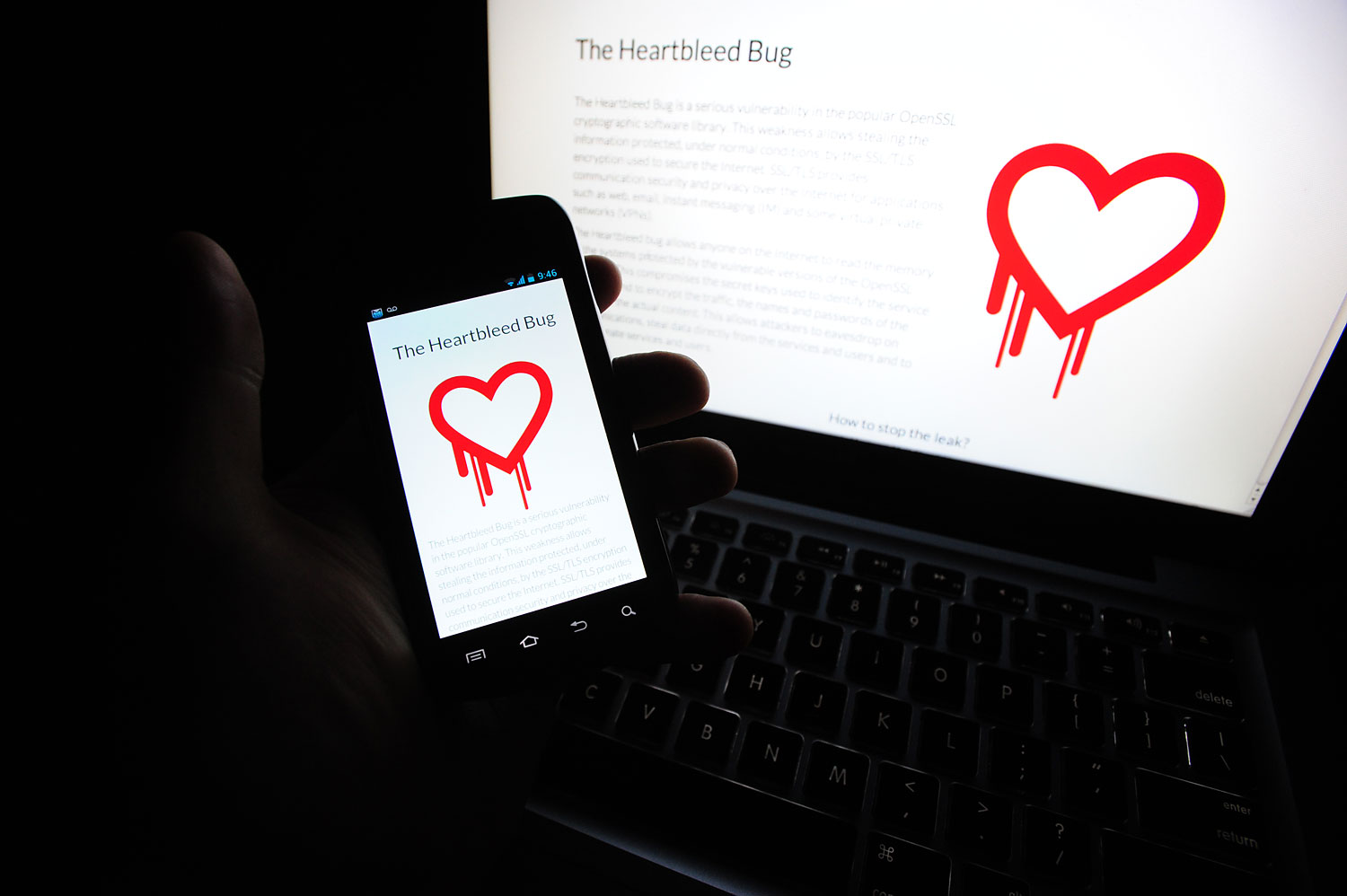 The Heartbleed.com information website displayed on a cell phone and laptop on April 17th 2014.