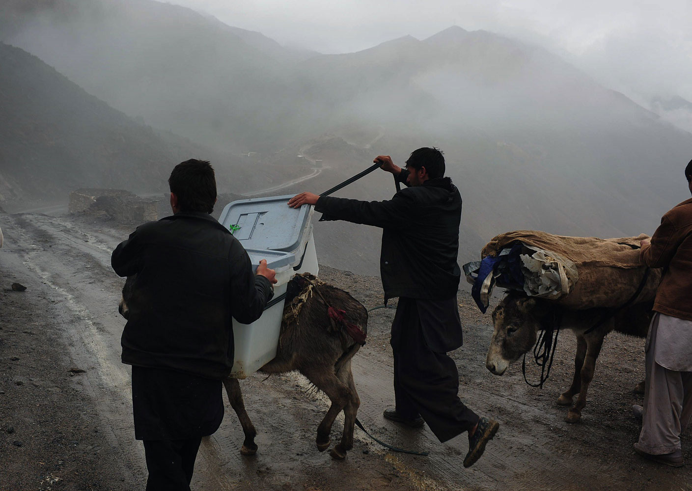 Afghan villagers adjust election materials on the back of donkeys as they head back to their village along a country road high in the mountains in the Shutul District in northern Afghanistan, April 4, 2014.